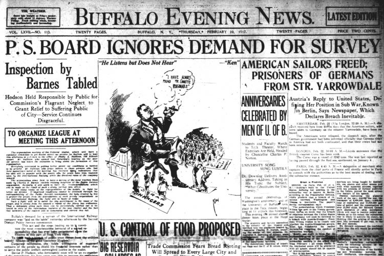 Front page, Feb. 22, 1917: 'Corporate selfishness' blamed for poor trolley service