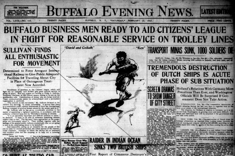 Front page, Feb. 24, 1917: Housewives told to serve more American cheese and less beef stew