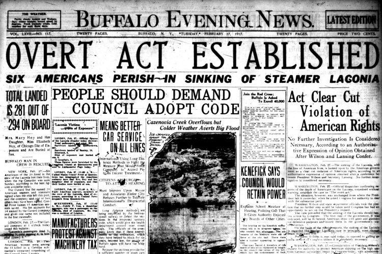 Front page, Feb. 27, 1917: Buffalo man rescued after Germans sink the Laconia