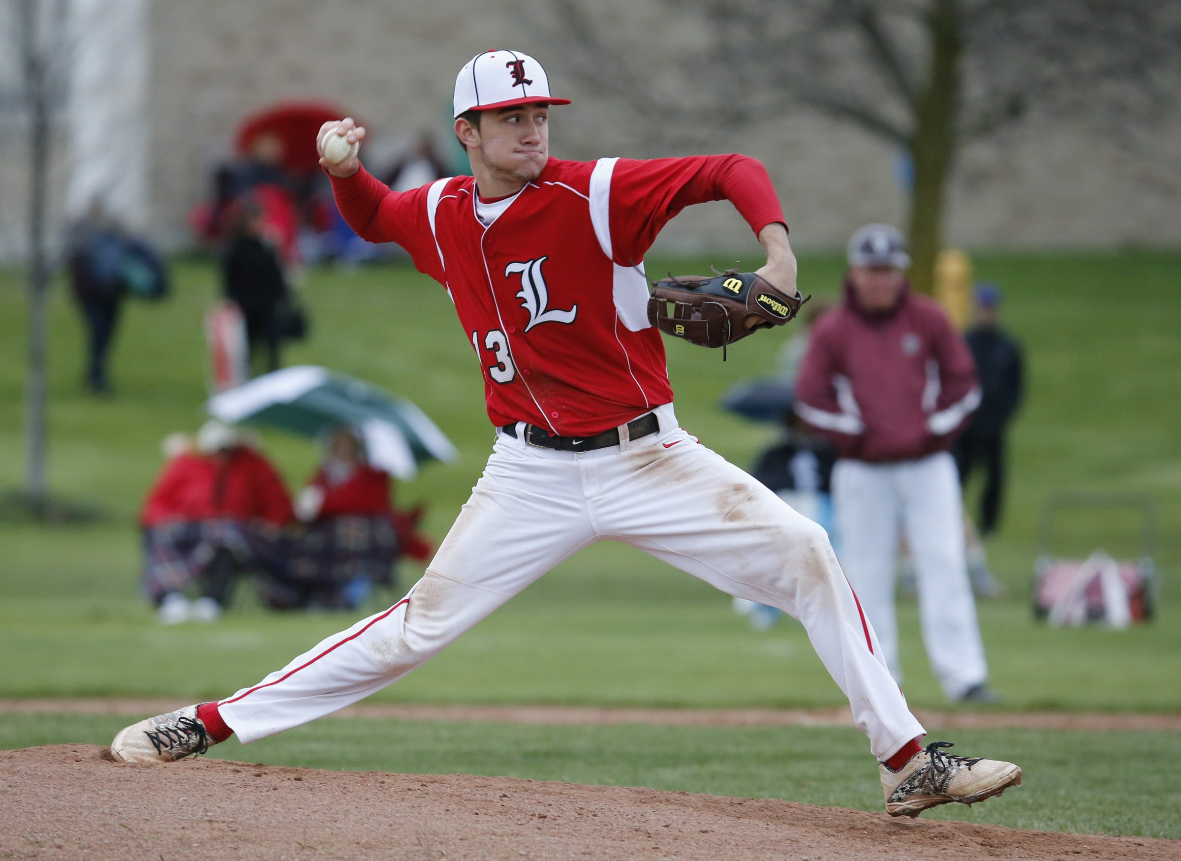 Lancaster pitcher Max Giordano helped the Legends win the Section VI Class AA title last season. (Harry Scull Jr./Buffalo News file photo)