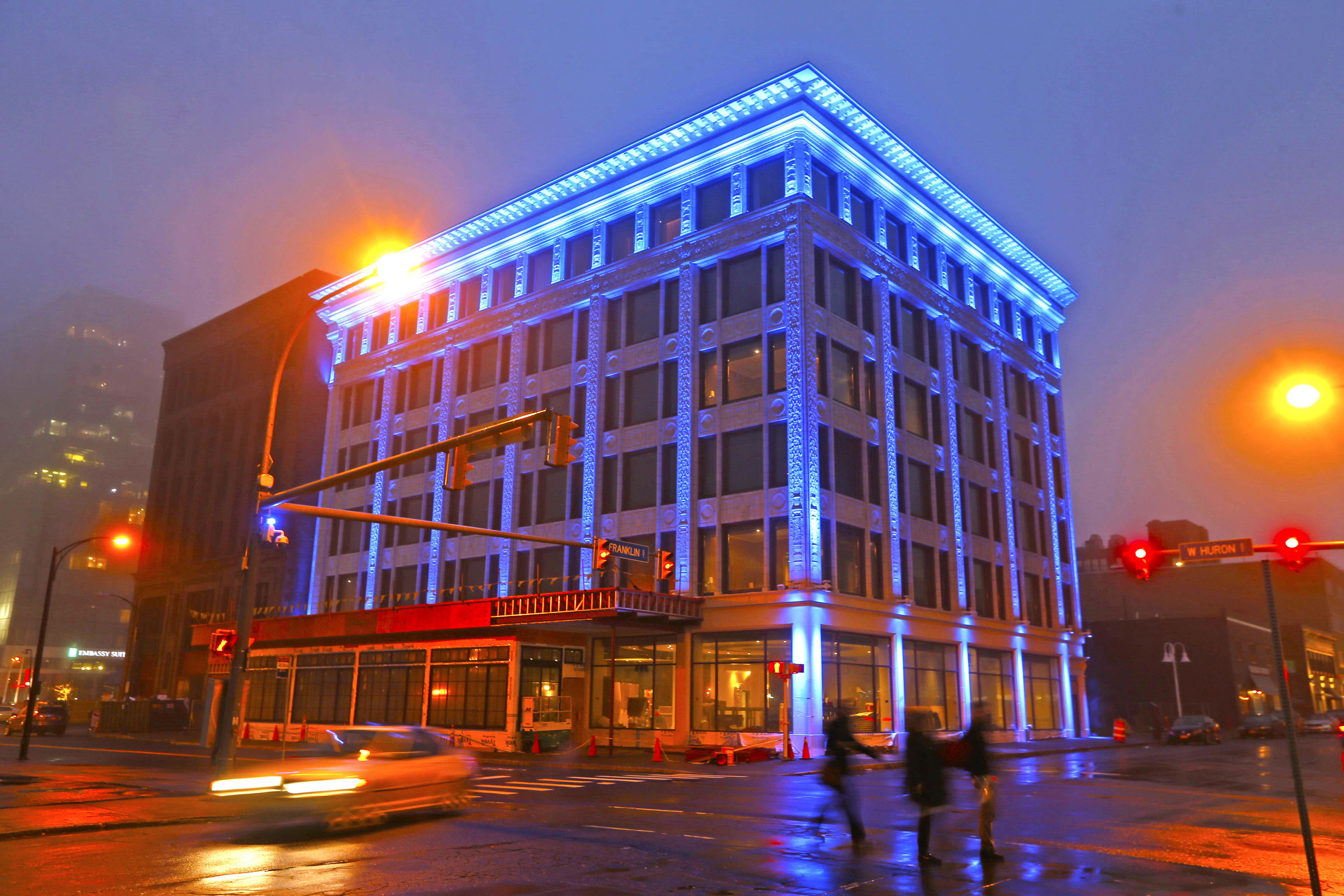 The Curtiss Hotel, shown during construction earlier this year, features colorful exterior lighting. (Robert Kirkham/News file photo)