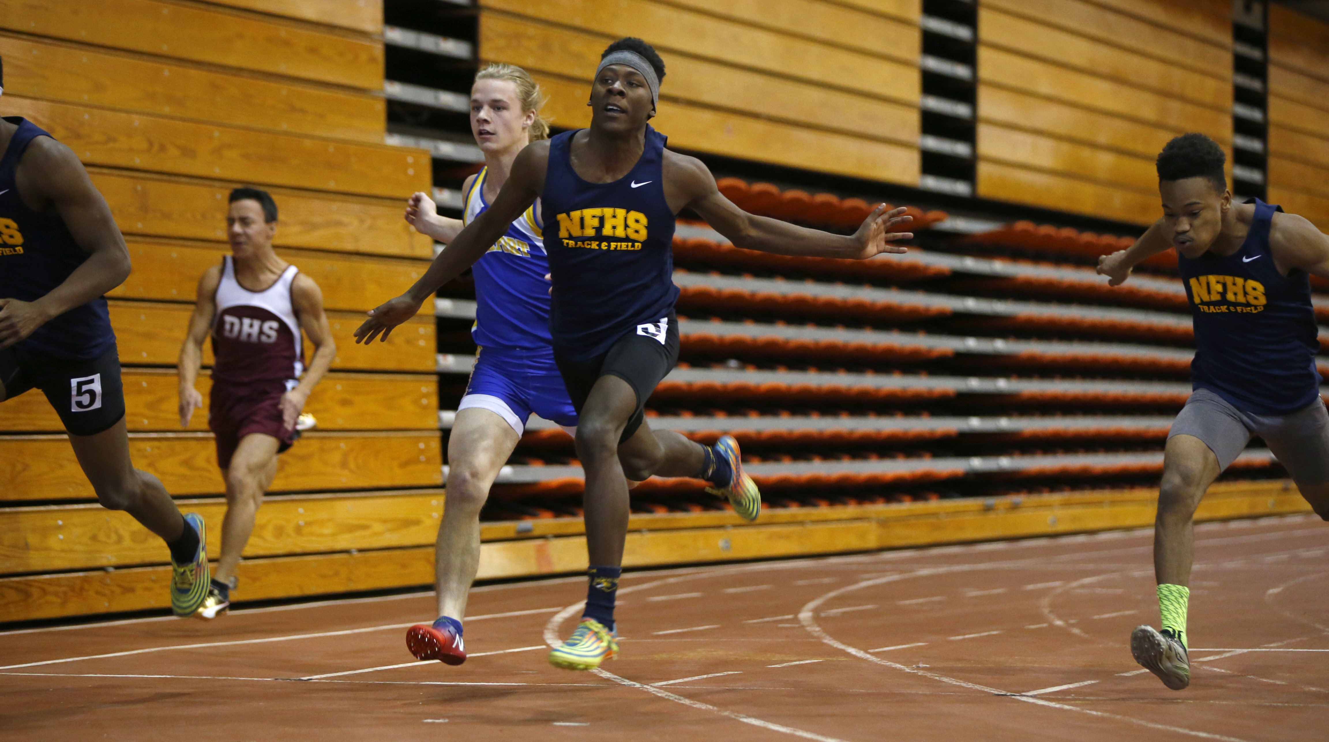 Rodney Barnes of Niagara Falls wins the 55-meter dash during a track meet at Buffalo State on Jan. 7. (Harry Scull Jr./Buffalo News)