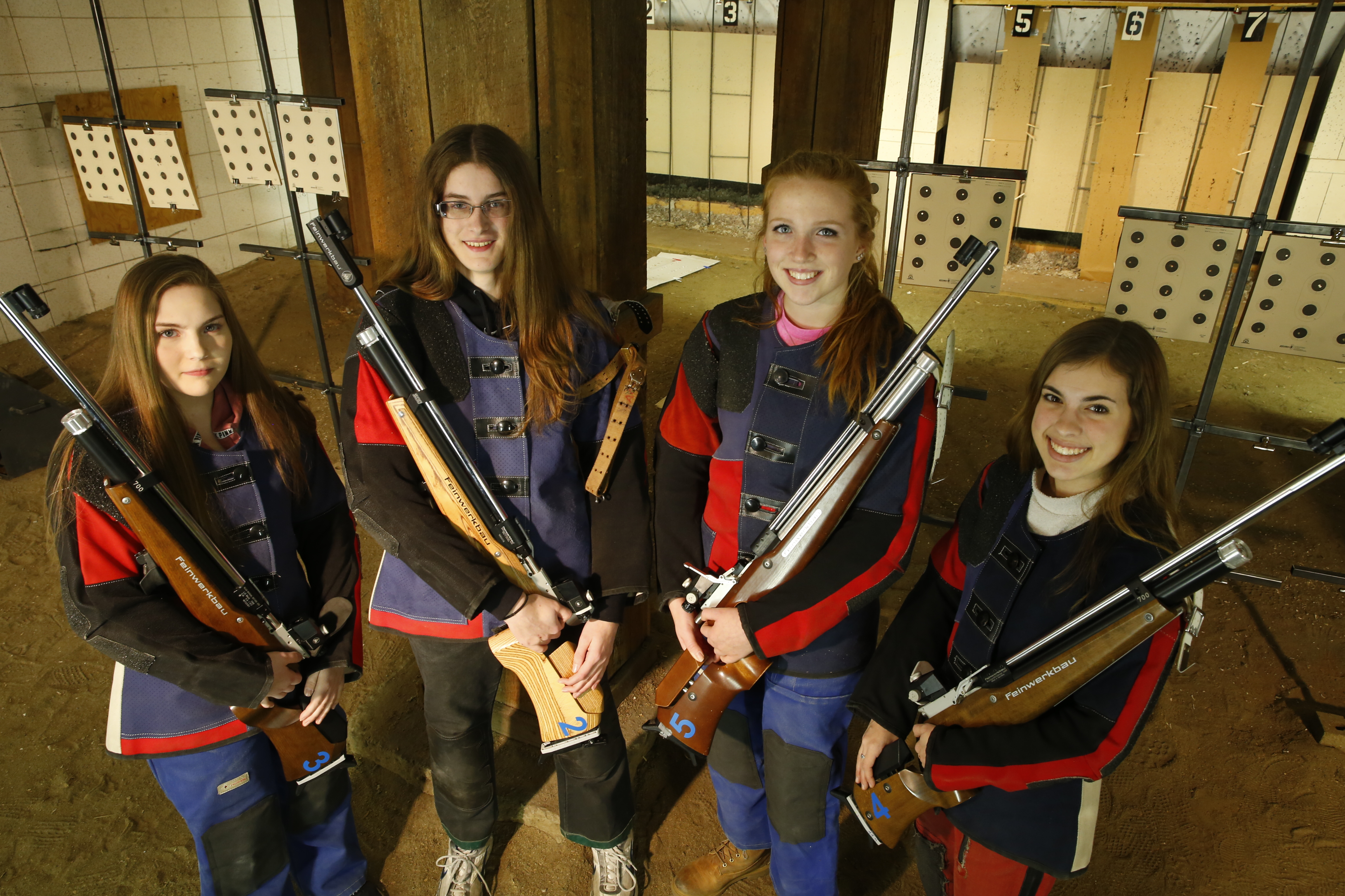From L-R, Alden shooters Megan Gabbey, Emily Szymanski, Maggie Arnold and Cailyn Bennett. (Harry Scull Jr./Buffalo News)