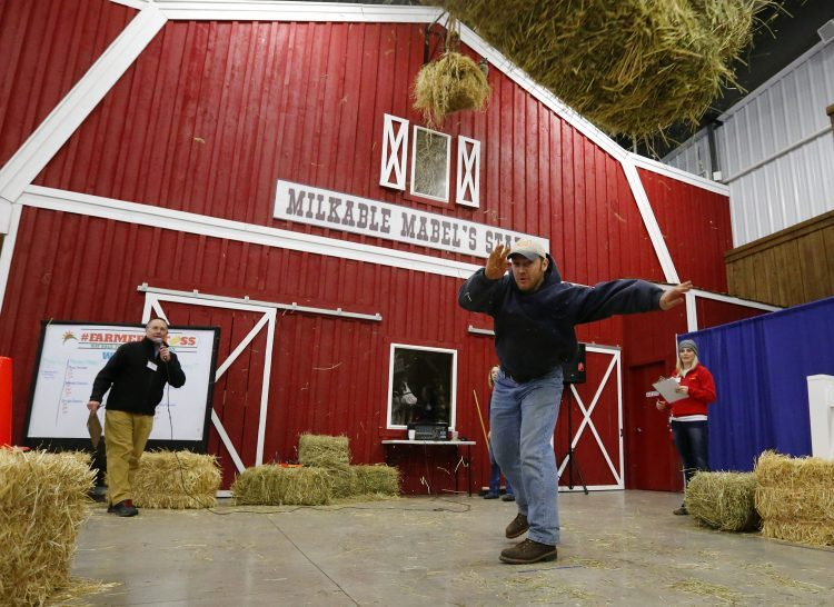 The hay bale toss is not the only competition at the Western New York Farm Show.  Mark Mulville/Buffalo News)