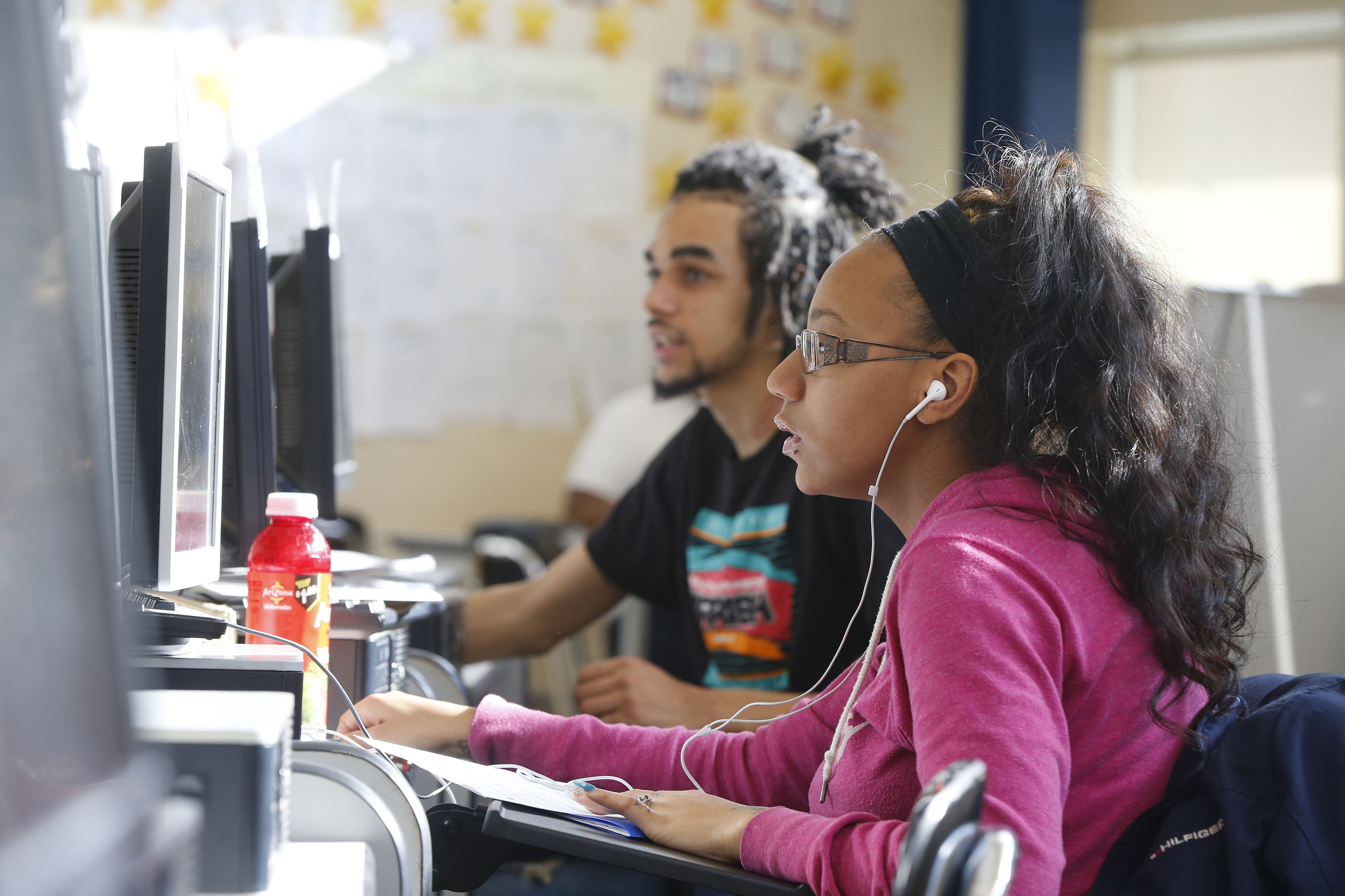 Jasmine Szymanski, front, and Andrew Guida, back, work on school work in the Buffalo Public School's 'virtual pathway' program at Burgard High School in Buffalo on Wednesday, Feb. 1, 2017. (Mark Mulville/Buffalo News)