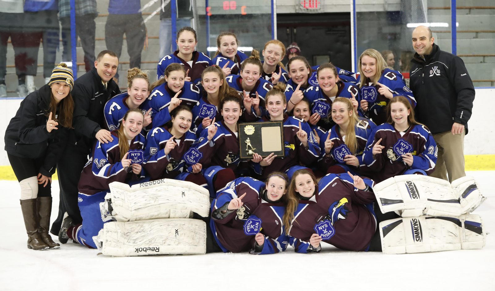 Frontier/Lancaster/Orchard Park celebrates after defeating Kenmore/GI, 3-2, for the Section VI title. (Harry Scull Jr./Buffalo News)