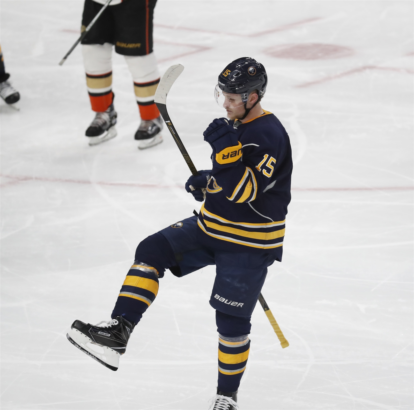 Jack Eichel scored Thursday, a celebration that certainly carried out of town. (Harry Scull Jr./Buffalo News)