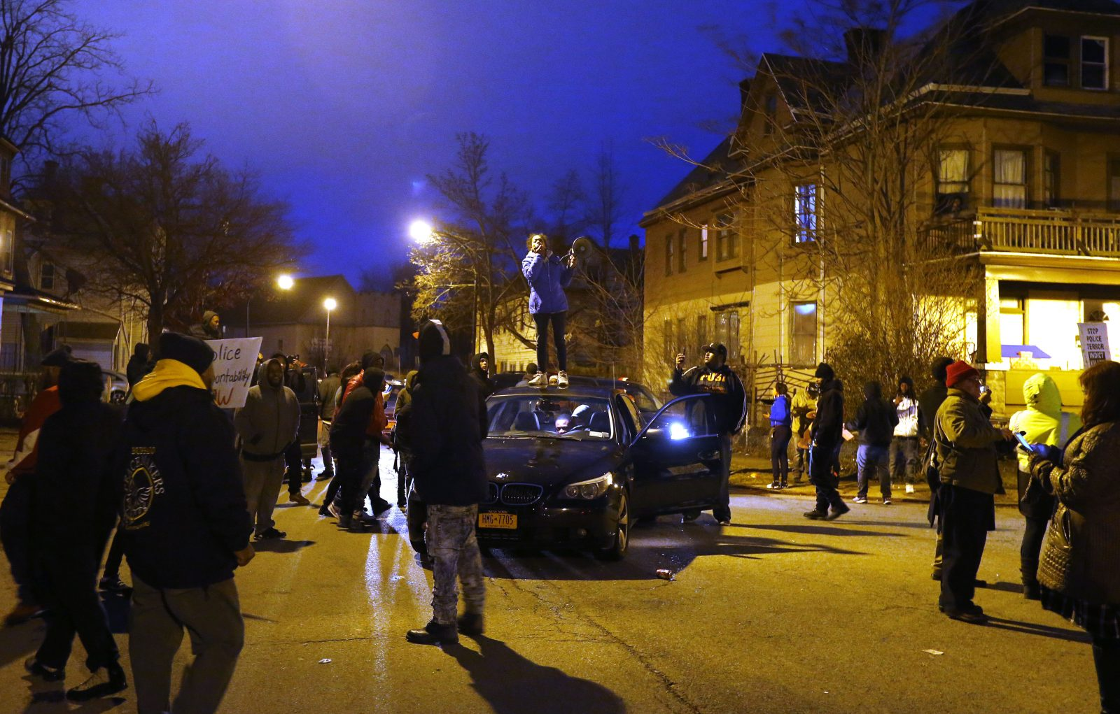 People gather at the corner of Hoyt and Arnold streets on Wednesday, Feb. 8, 2017, to remember Wardel Davis, who stopped breathing and died Feb. 7 on Hoyt Street during a struggle with Buffalo police. (Mark Mulville/Buffalo News)