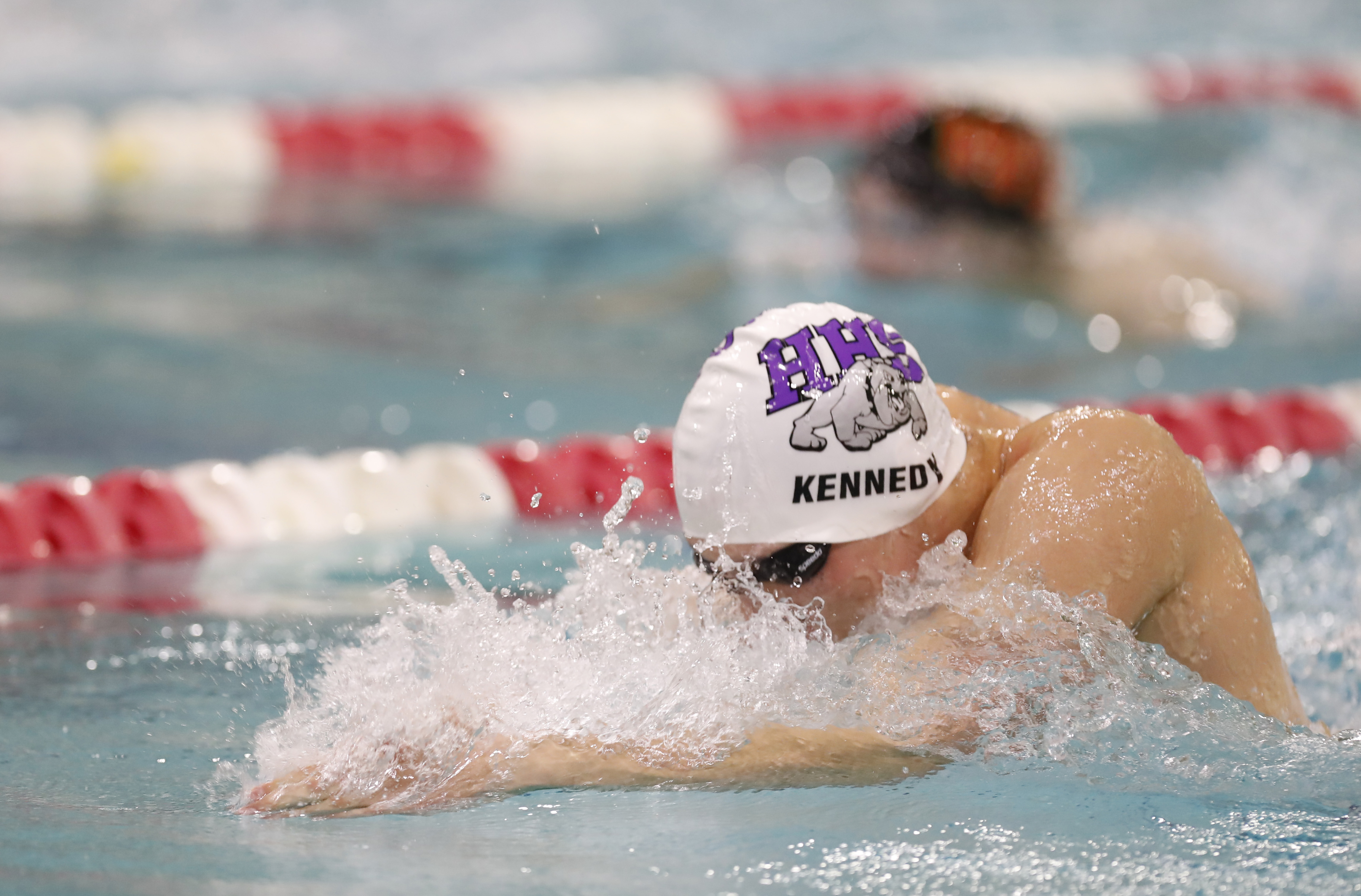 Luke Kennedy from Hamburg wins the 100 yard breastroke in Section VI record-setting fashion during last week's Section VI championship meet at the Flickinger Center pool at Erie Community College. (Harry Scull Jr./Buffalo News)