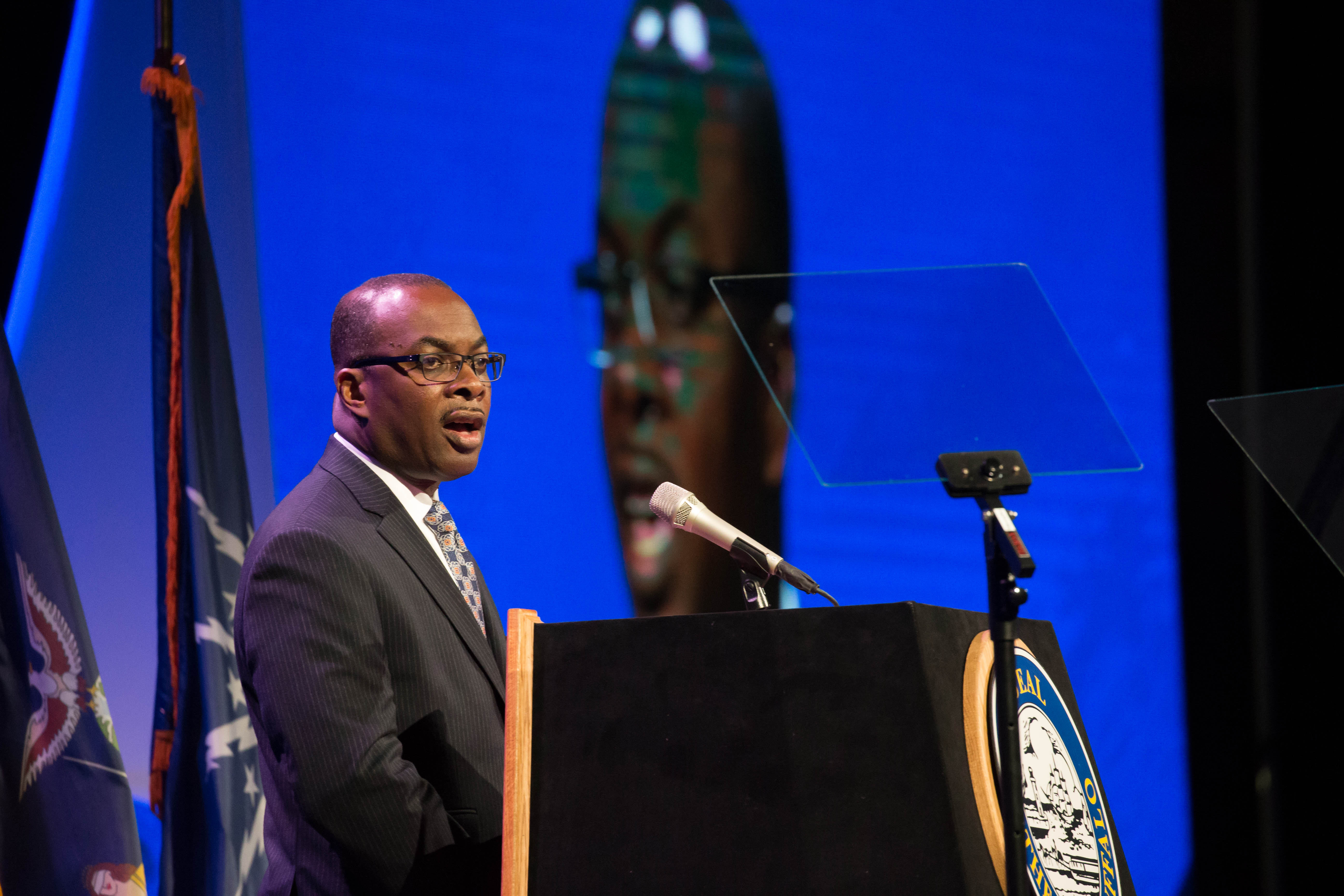 Mayor Byron Brown sounded some familiar notes as he addressed the State of the City Friday at the Buffalo Niagara Convention Center. (Derek Gee/Buffalo News)