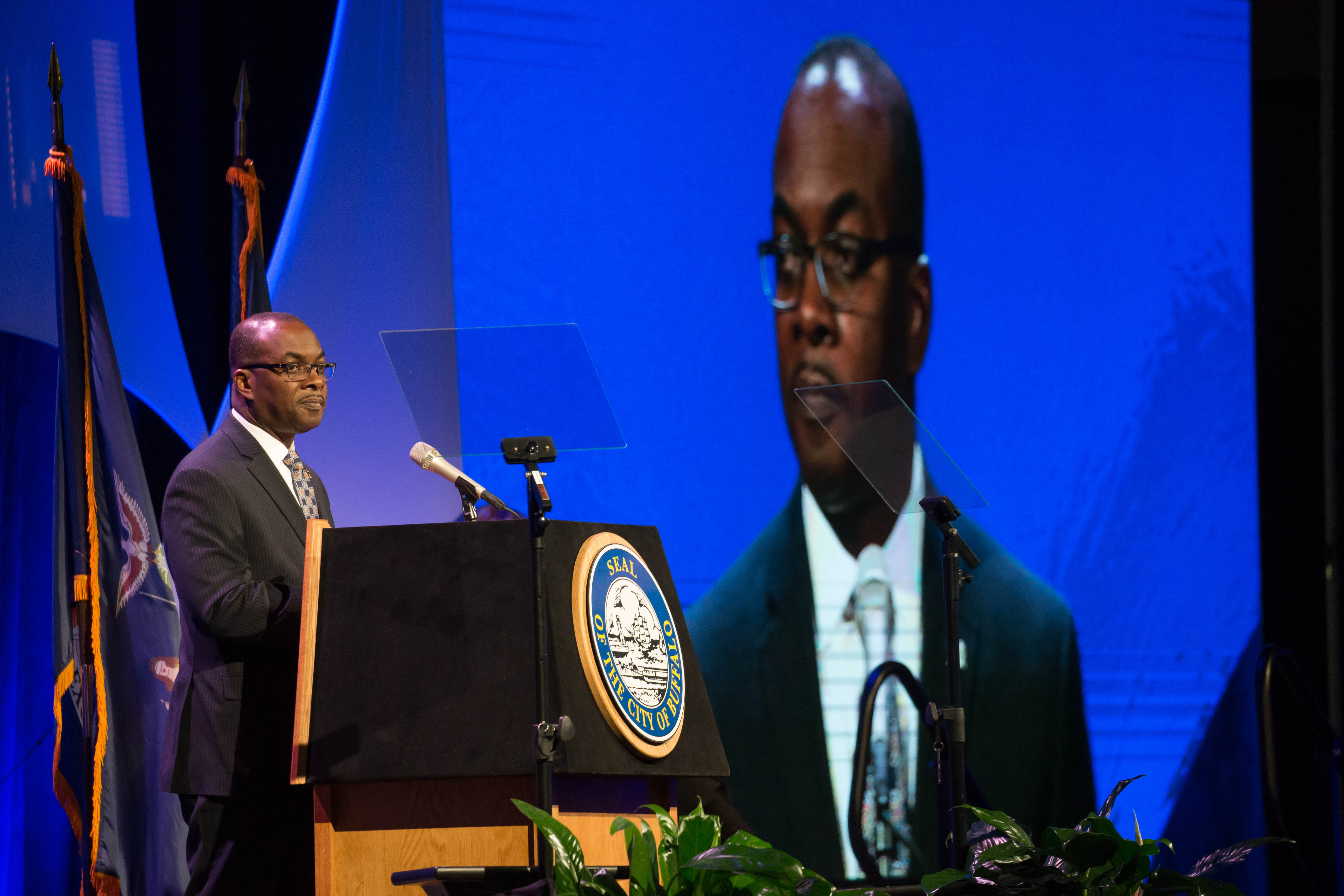 Buffalo Mayor Byron Brown, shown here delivering the State of the City at the Buffalo Niagara Convention Center on Feb. 17. (Derek Gee/News file photo)