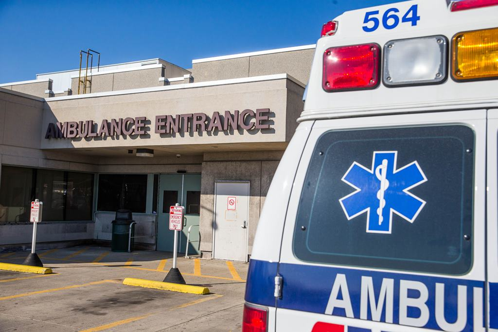 Ambulances access  Erie County Medical Center emergency room via a ramp that would prove inadequate if there were multiple vehicles from a mass casualty incident. (Derek Gee/Buffalo News)