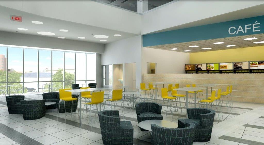 Early conceptual designs of a planned cafe space in the new Jacobs School of Medicine and Biomedical Sciences building. (Credit: HOK/ University at Buffalo)
