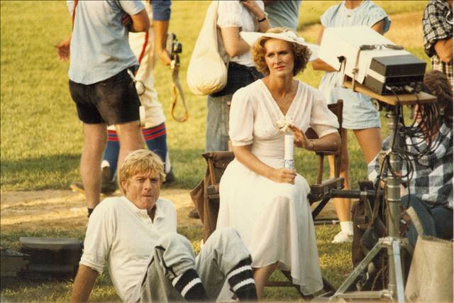 "Robert Redford and Glenn Close on the set of ""The Natural"" in Buffalo in 1983."