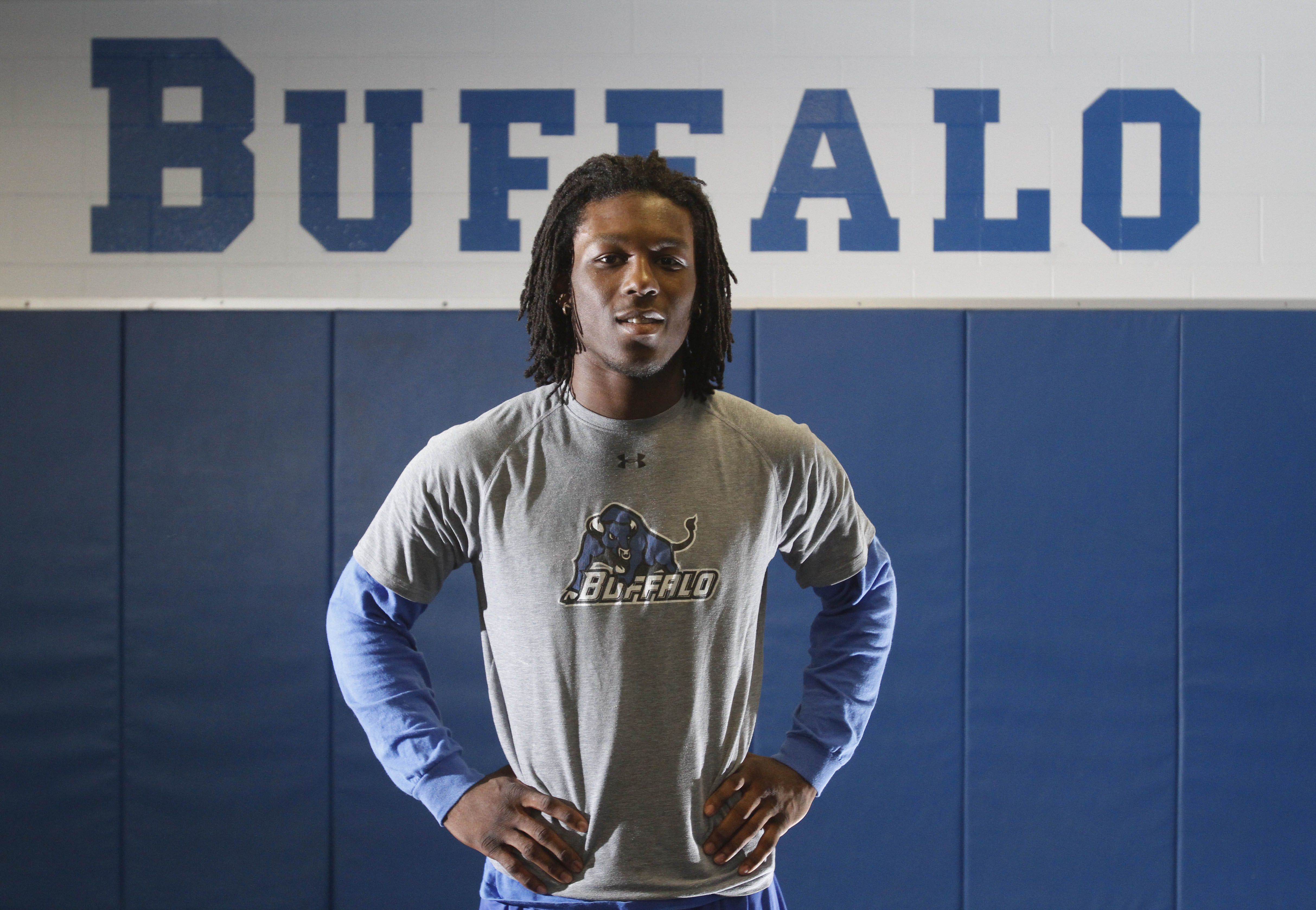 Desmond Green, shown here in 2009, was a two-time Mid-American Conference wrestling champion at 149 pounds at the University at Buffalo. (Mark Mulville/Buffalo News)