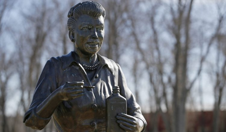The harrowing statue of Lucille Ball in Celoron drew national attention.  (Derek Gee/Buffalo News)
