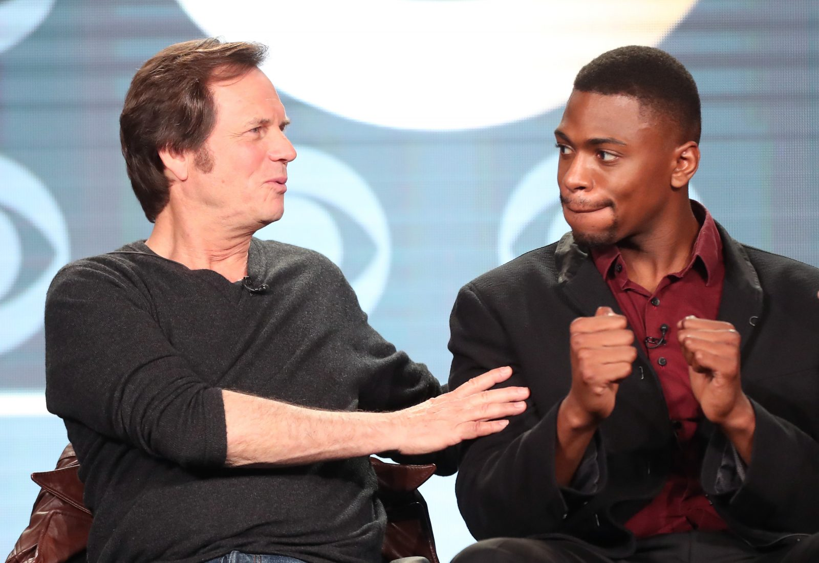 Actors Bill Paxton, left, and Justin Cornwell of the television show 'Training Day' speak onstage during the CBS portion of the 2017 Winter Television Critics Association Press Tour in Pasadena. (Photo by Frederick M. Brown/Getty Images)