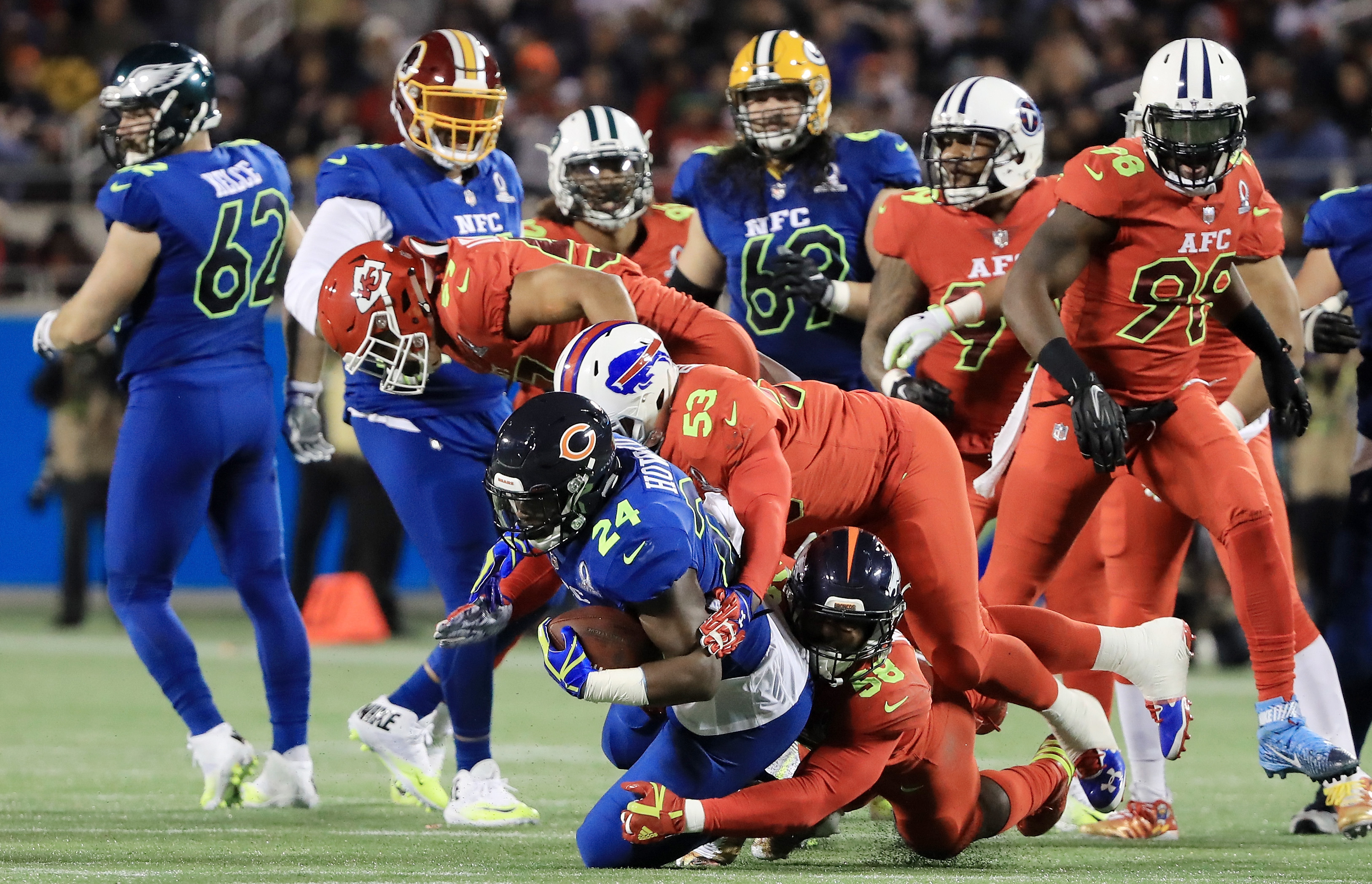 Jordan Howard  of the NFC is tackled in the fist half by the AFC during the NFL Pro Bowl Orlando, Fla.  (Sam Greenwood/Getty Images)