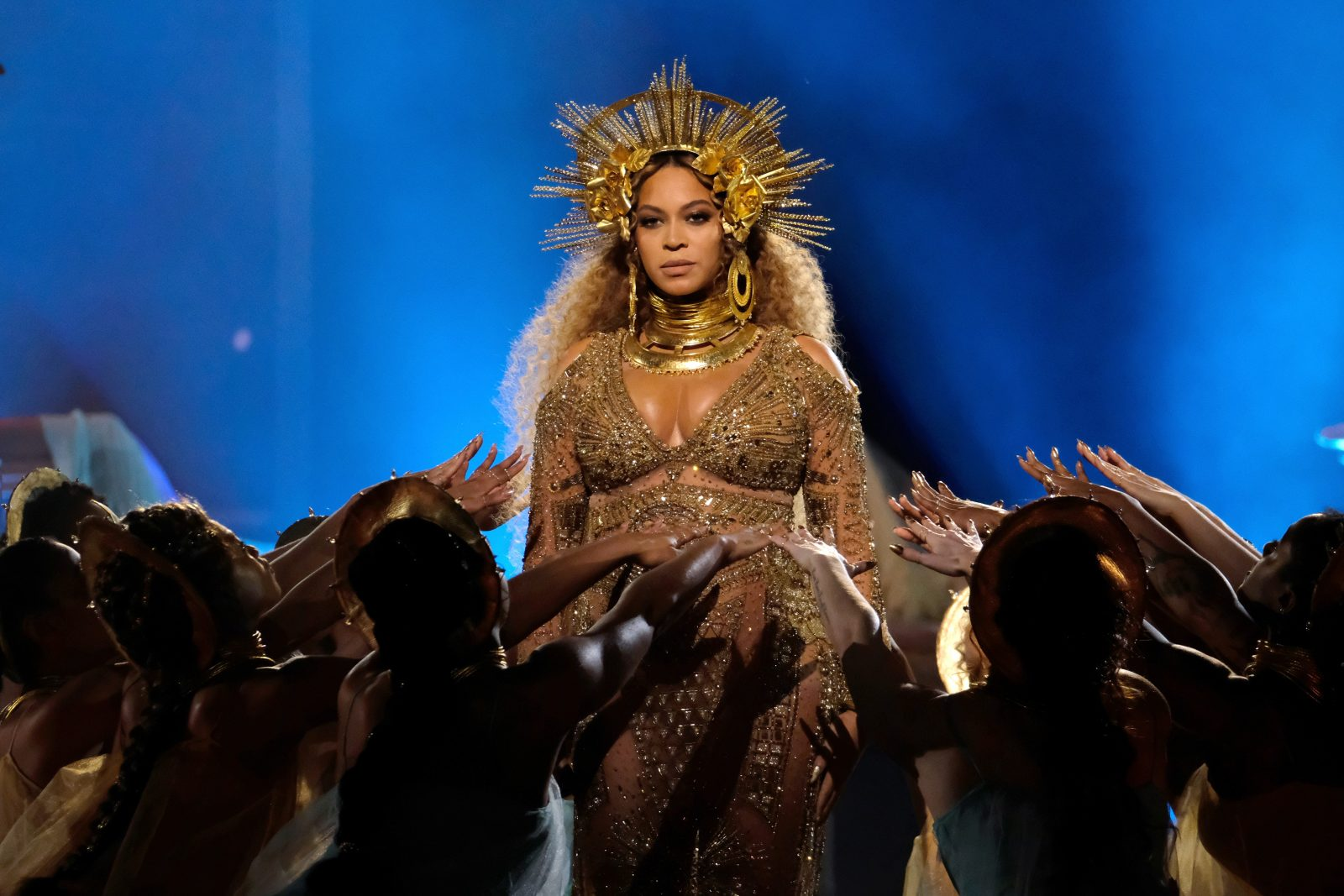 Beyonce performs during the 59th Grammy Awards at STAPLES Center on Feb. 12, 2017 in Los Angeles. (Getty Images)