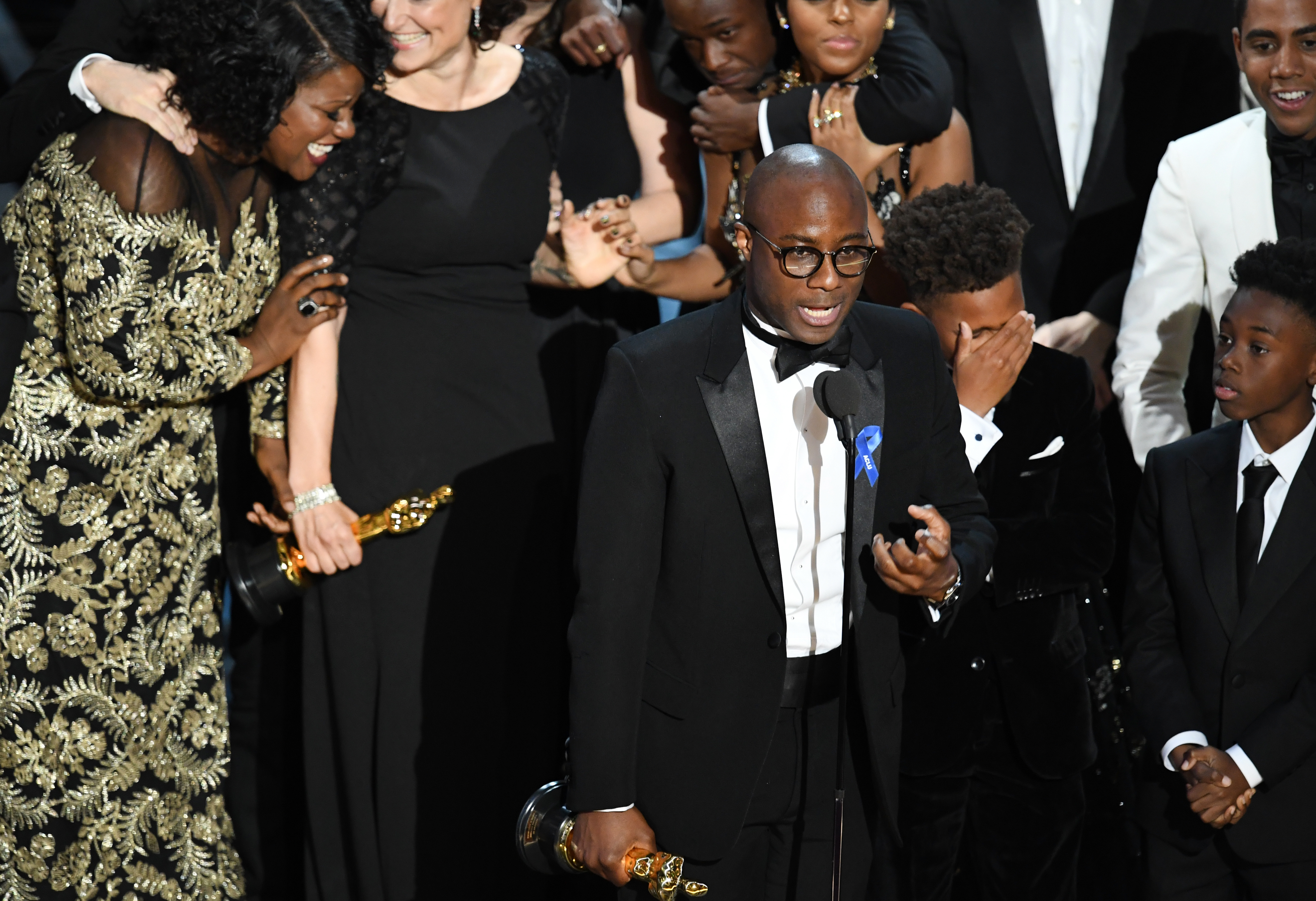 From left, editor Joi McMillon, writer/director Barry Jenkins, actors Jaden Piner and Alex R. Hibbert accept Best Picture for 'Moonlight' onstage during the 89th Annual Academy Awards at Hollywood's Highland Center on Feb. 26, 2017, in Hollywood, Calif.  (Photo by Kevin Winter/Getty Images)
