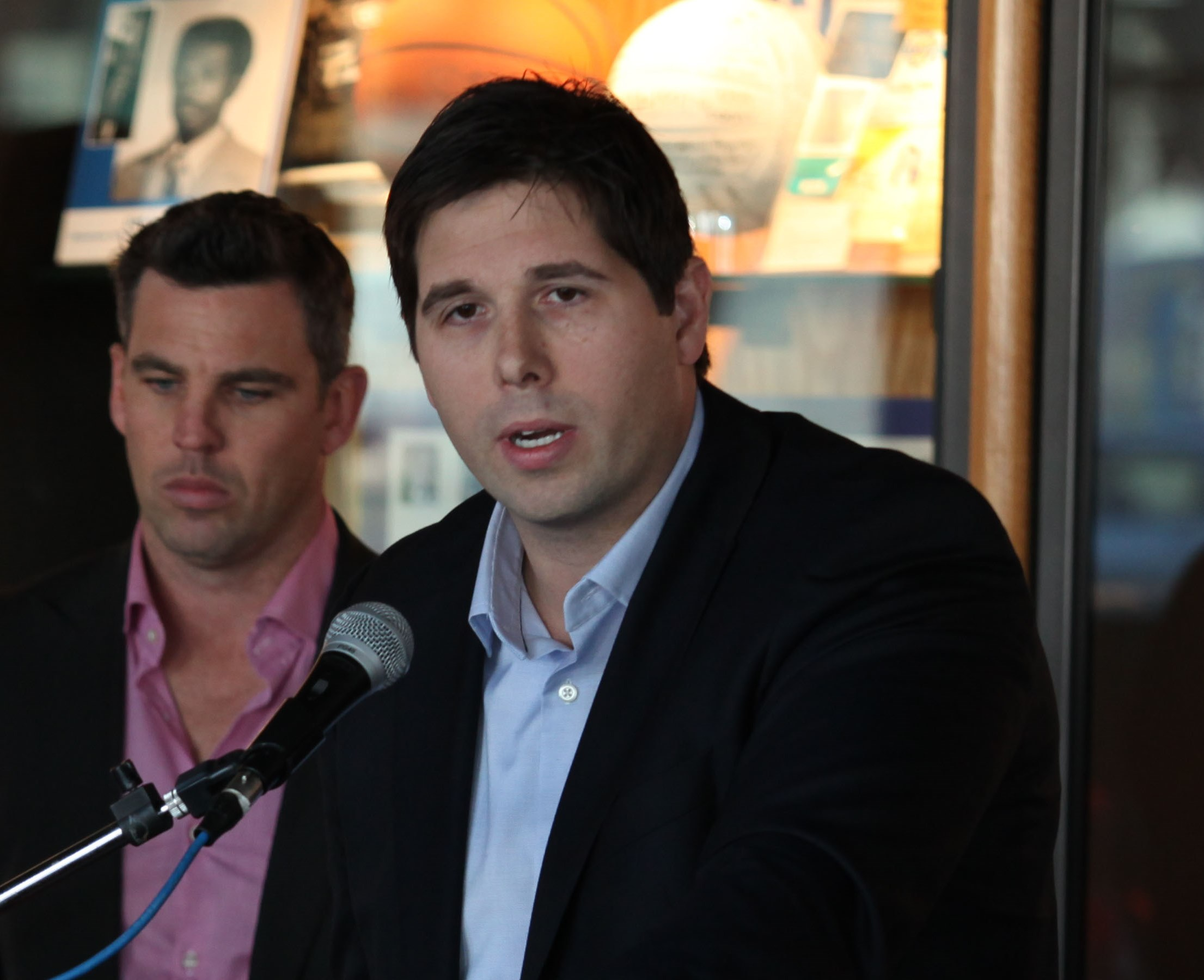 Former Sabre Andrew Peters speaks at a 2011 press conference. (Buffalo News file photo)