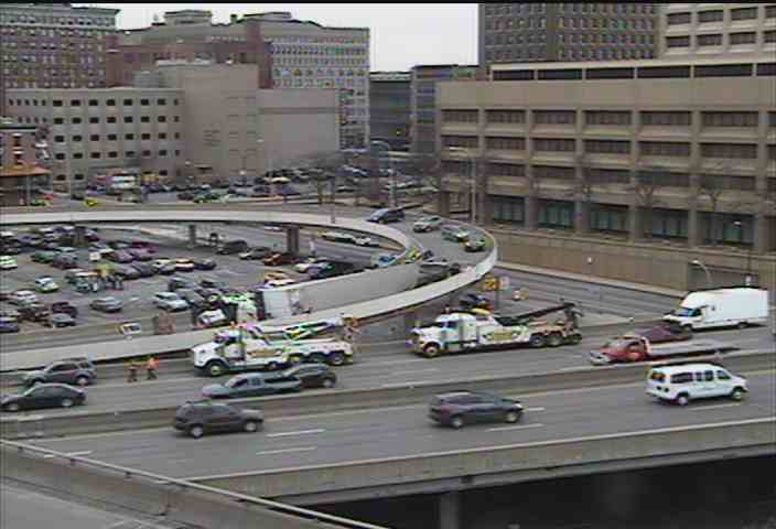 Ramp to northbound I-190 closed after truck roll-over