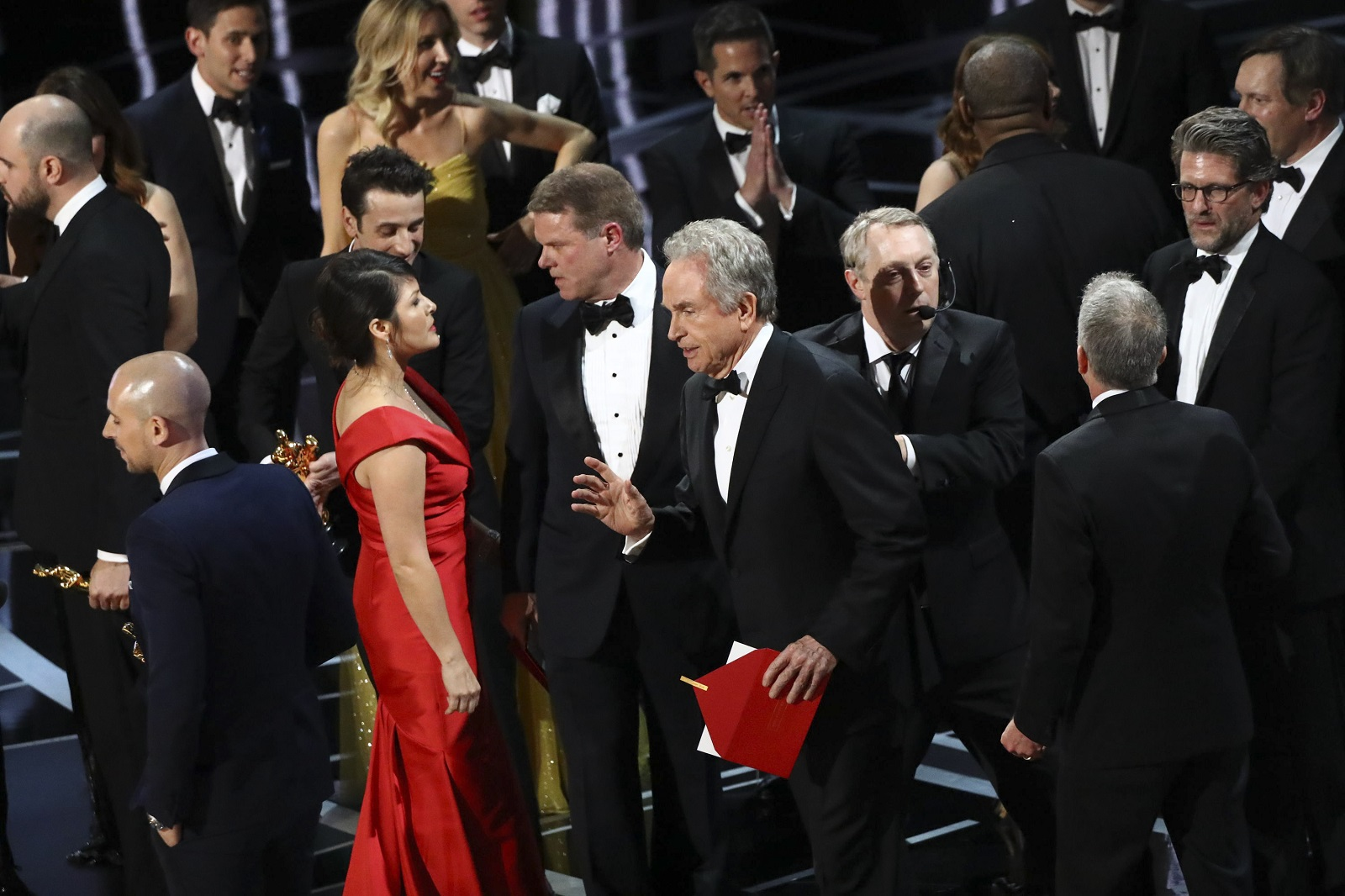 Warren Beatty after announcing the incorrect winner of the Oscar for Best Picture during the 89th Academy Awards at the Dolby Theatre in Los Angeles. Beatty and Faye Dunaway announced 'La La Land,' but 'Moonlight' was the correct winner. (Patrick T. Fallon/The New York Times)