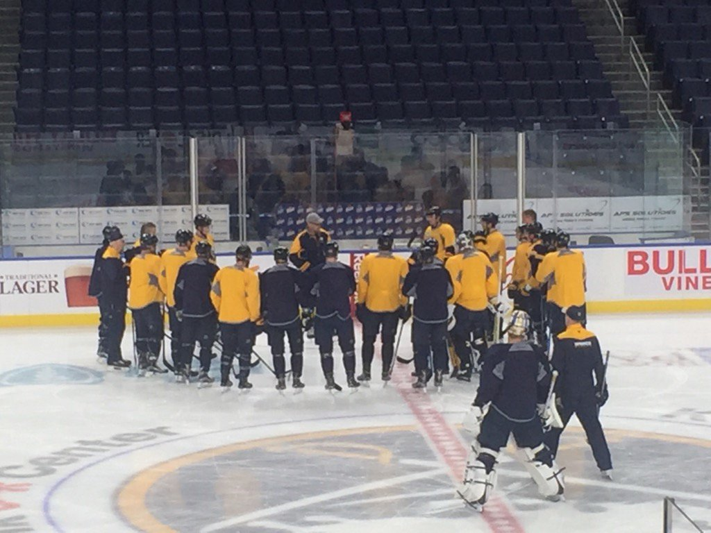 Dan Bylsma's opening chat at practice Wednesday was of the one-way variety (Mike Harrington/Buffalo News).
