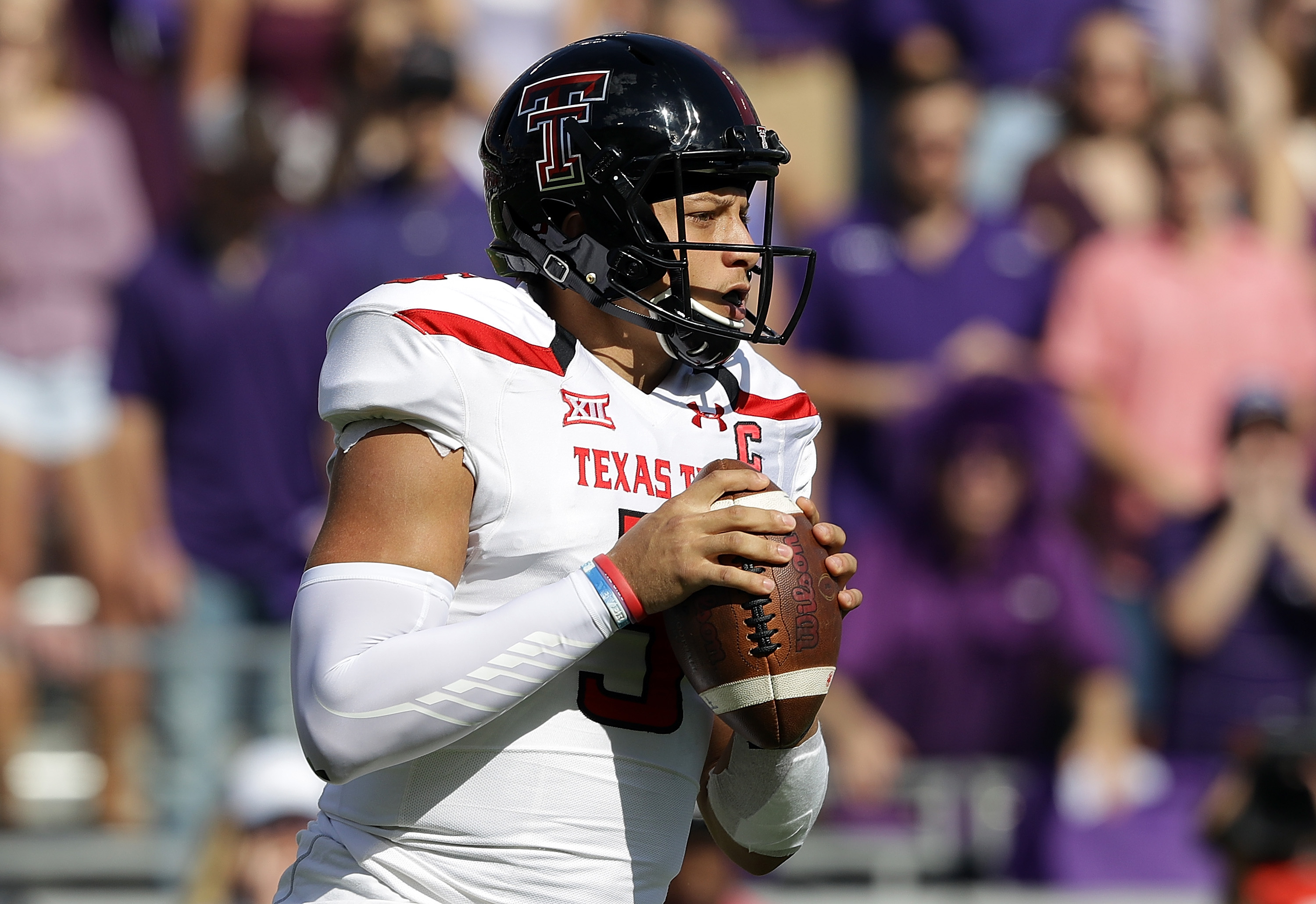 Patrick Mahomes of the Texas Tech Red Raiders could very well make a big splash at the NFL Scouting Combine.  (Photo by Ronald Martinez/Getty Images)