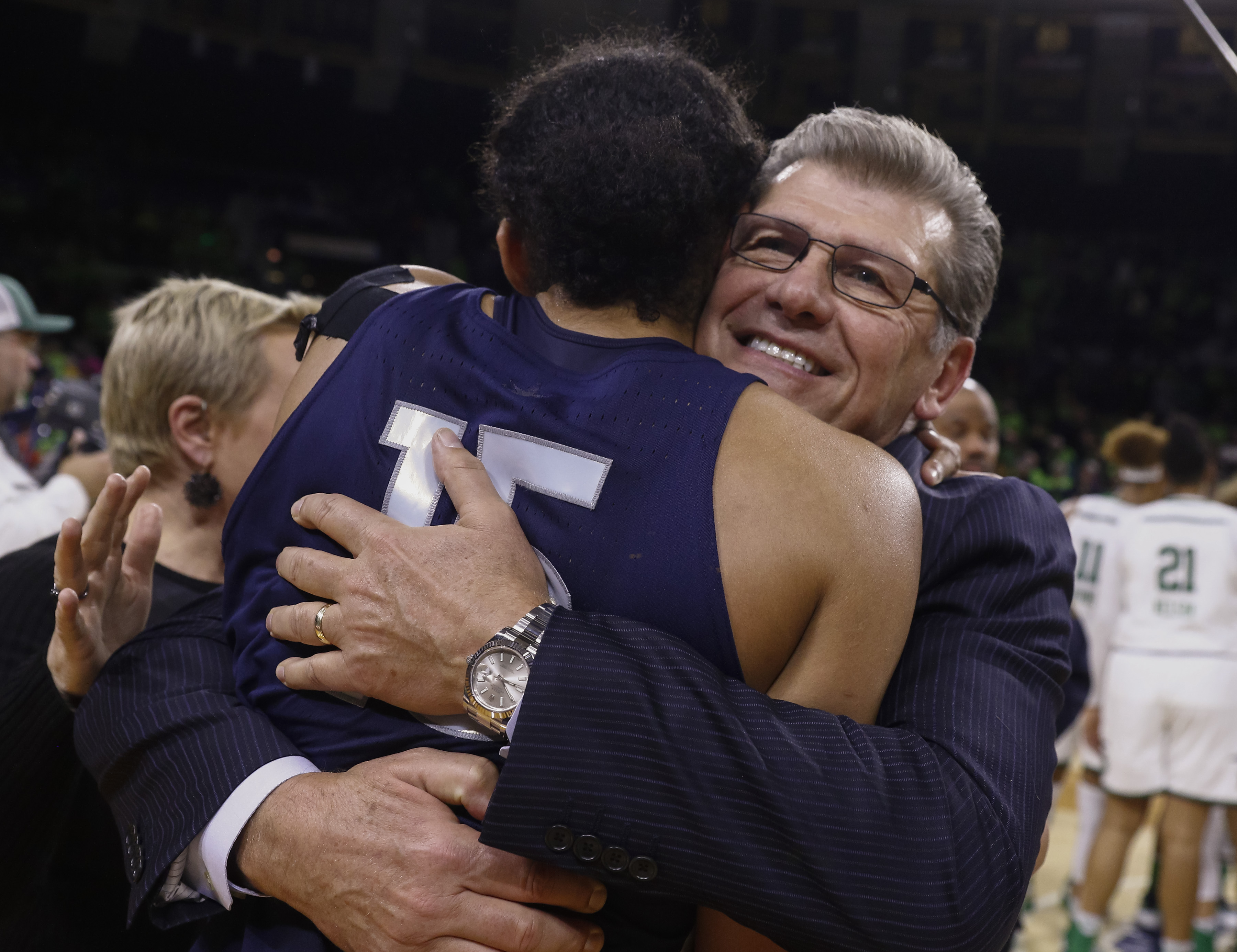 Coach Geno Auriemma and the UConn Huskies have played two games decided by fewer than 10 points during their 100-game winning streak. (Getty Images)
