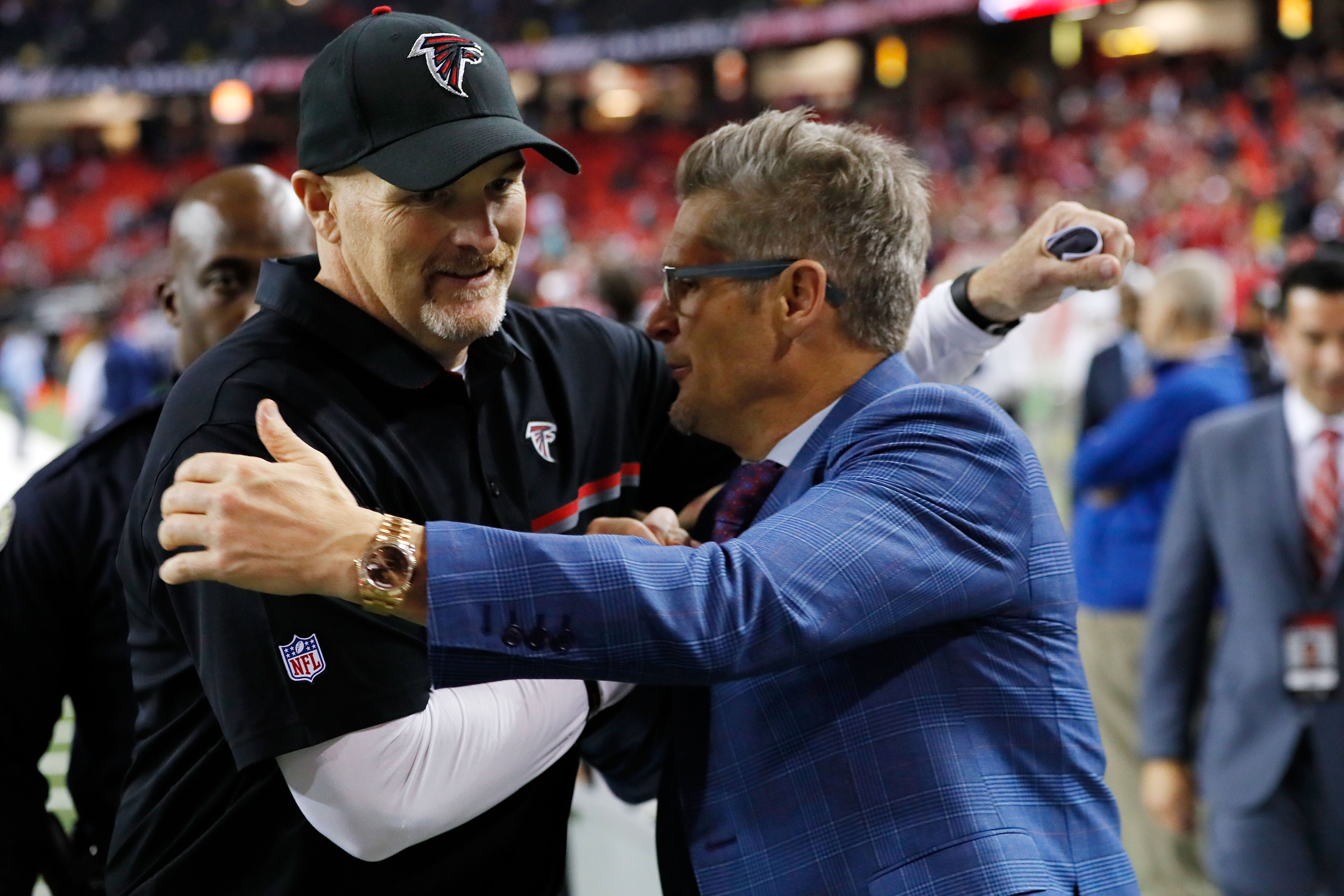 Falcons head coach Dan Quinn and General Manager Thomas Dimitroff have shared a vision that propelled the Falcons into the Super Bowl.  (Getty Images)