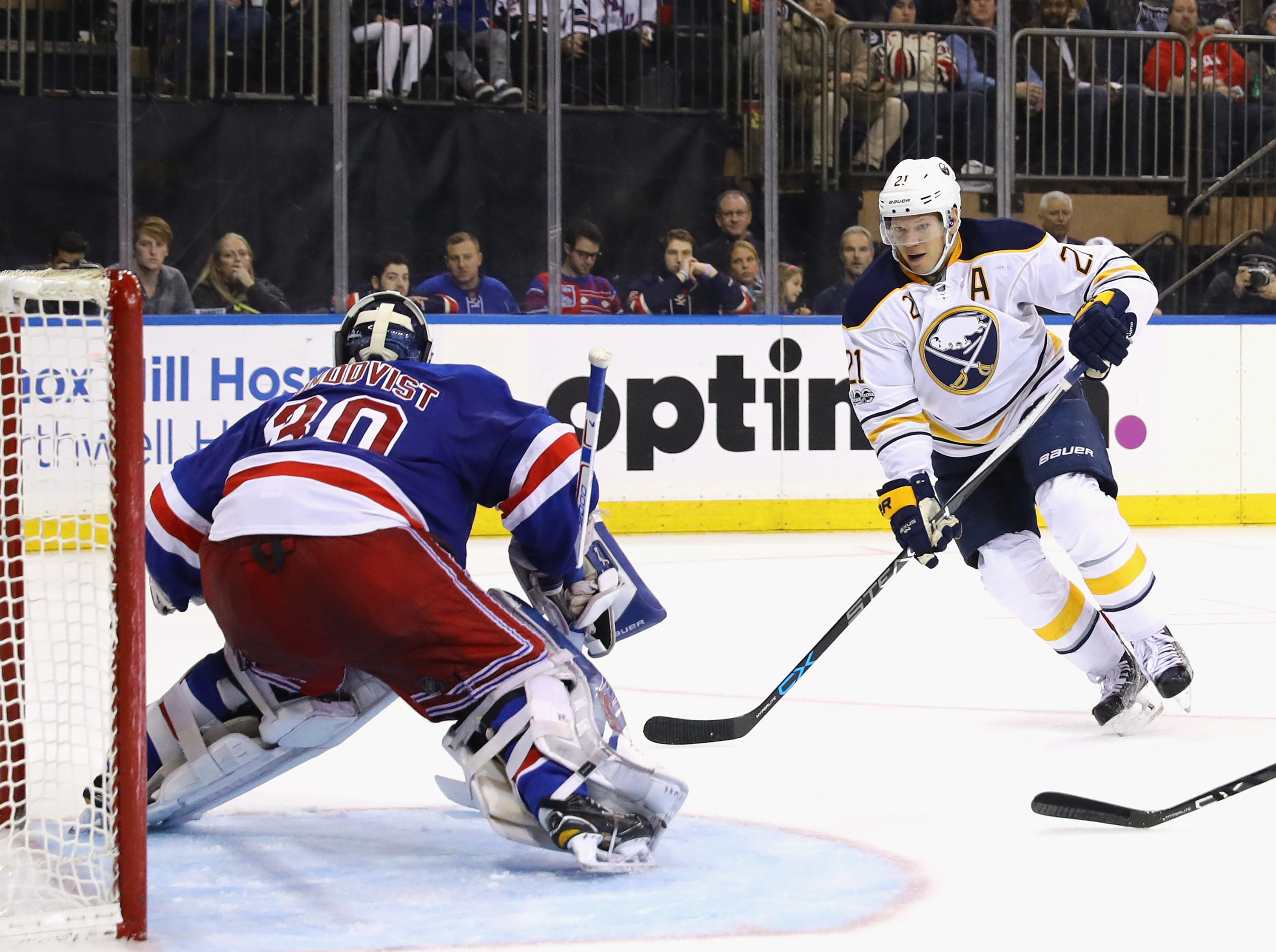Kyle Okposo and the Sabres are 2-0 this season against Henrik Lundqvist and the Rangers. (Getty Images)