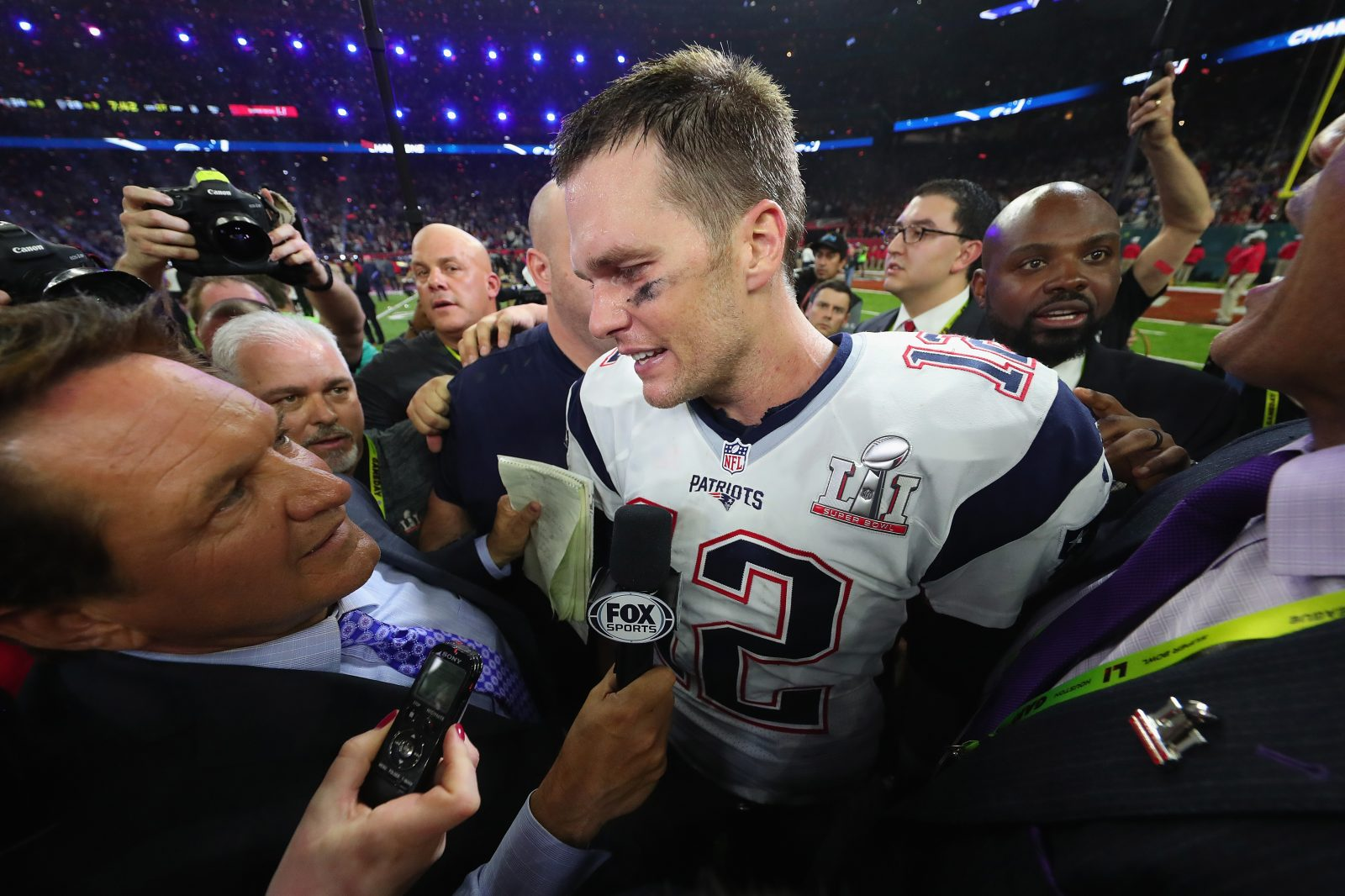 Tom Brady of the New England Patriots is interviewed by Fox Sports' Chris Myers following Super Bowl LI. (Getty Images)