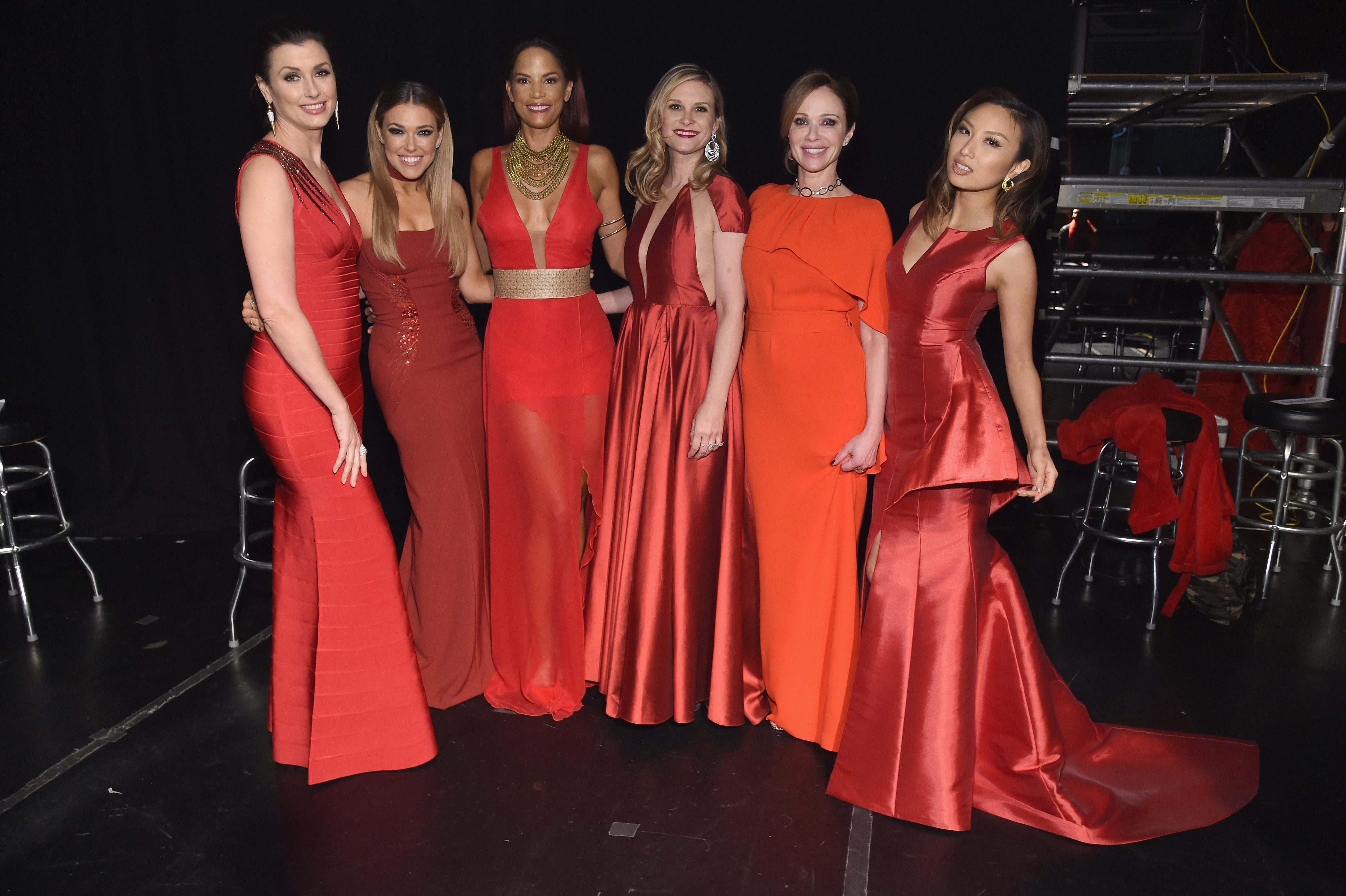 February is for red hearts, red roses and, as seen above, red dresses. Above, left to right, Bridget Moynahan, Rachel Platten, Veronica Webb, Bonnie Somerville, Lauren Holly and Jeannie Mai attend the American Heart Association's Go Red For Women Red Dress Collection 2017 presented by Macy's at Fashion Week in New York City Feb.  9. (Getty Images)  Below, more on red...