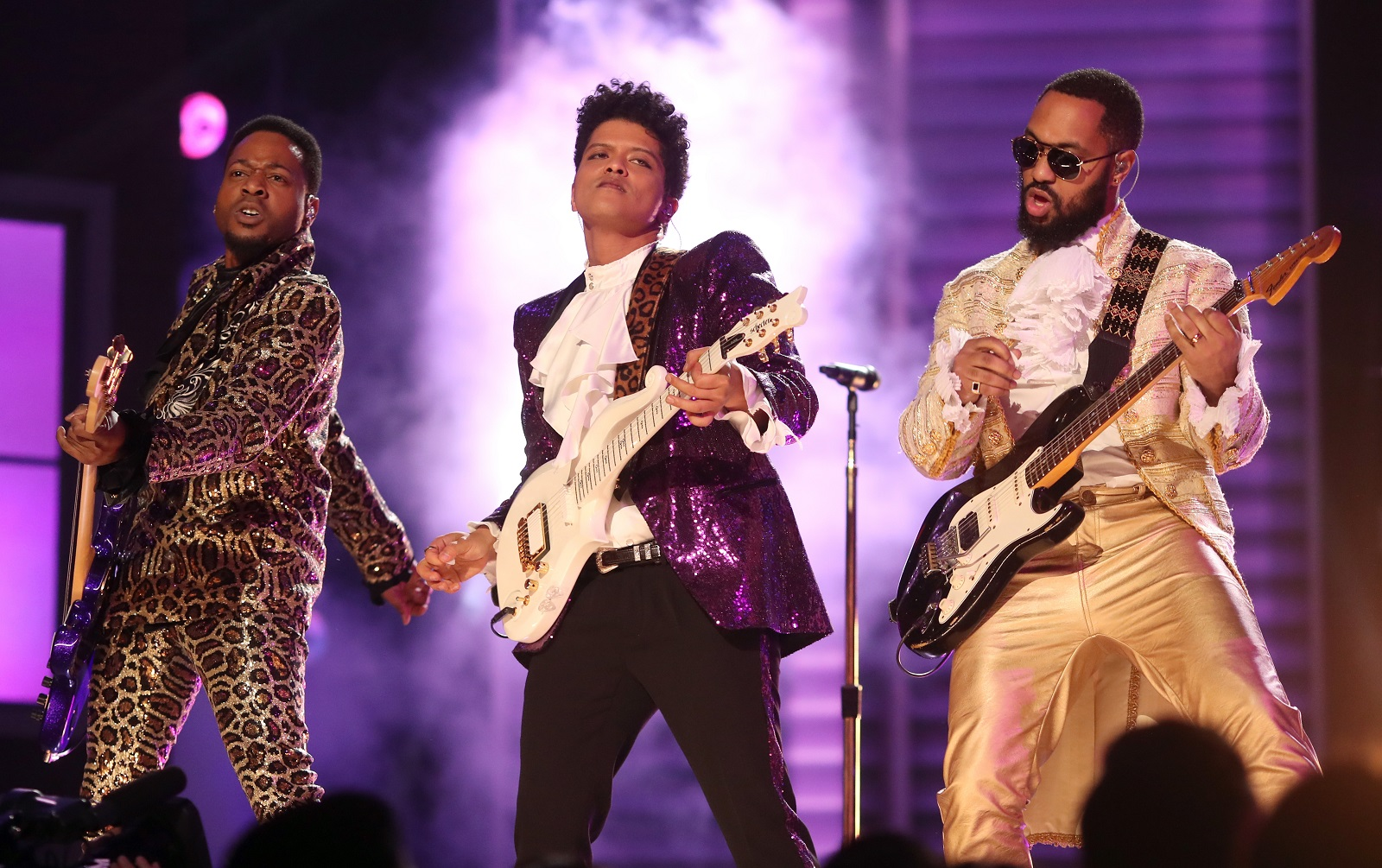 Bruno Mars, middle, performs during the 59th Grammy Awards. (Getty Images)