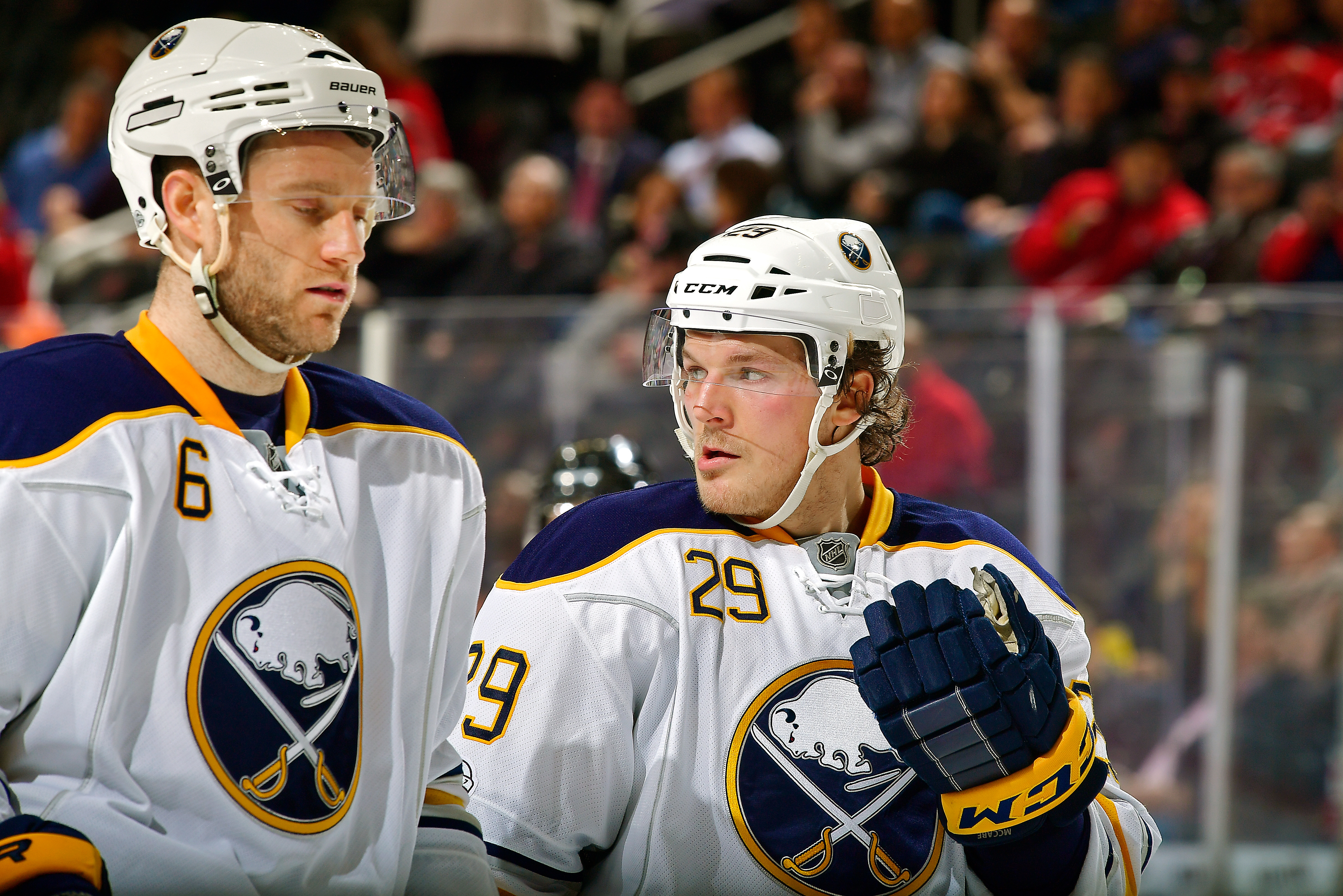 Cody Franson (6) could join Jake McCabe and the rest of Buffalo's defensemen Saturday. (Getty Images)
