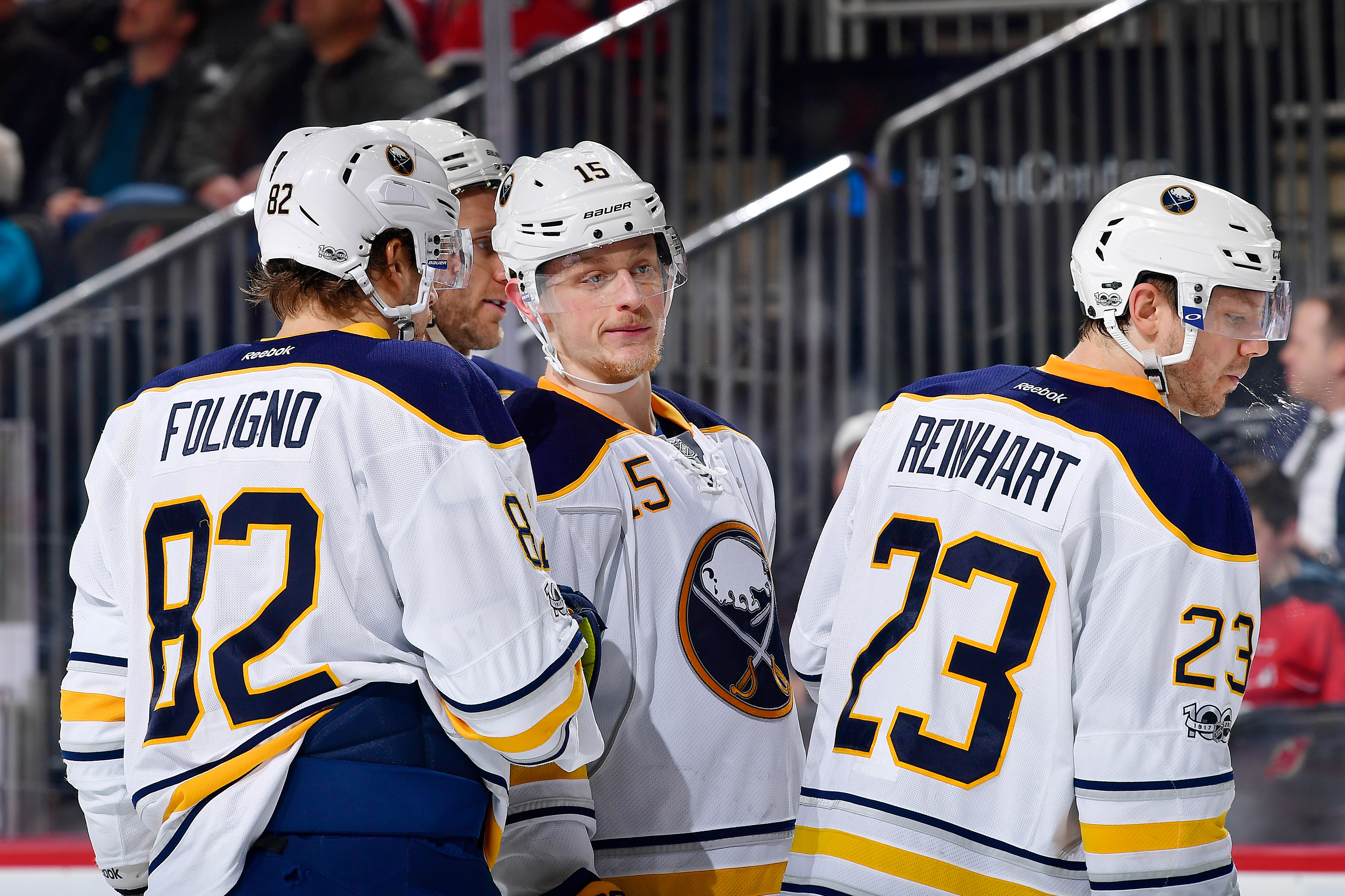 Robin Lehner says he wasn't singling out Jack Eichel (15) on Sunday. (Getty Images)