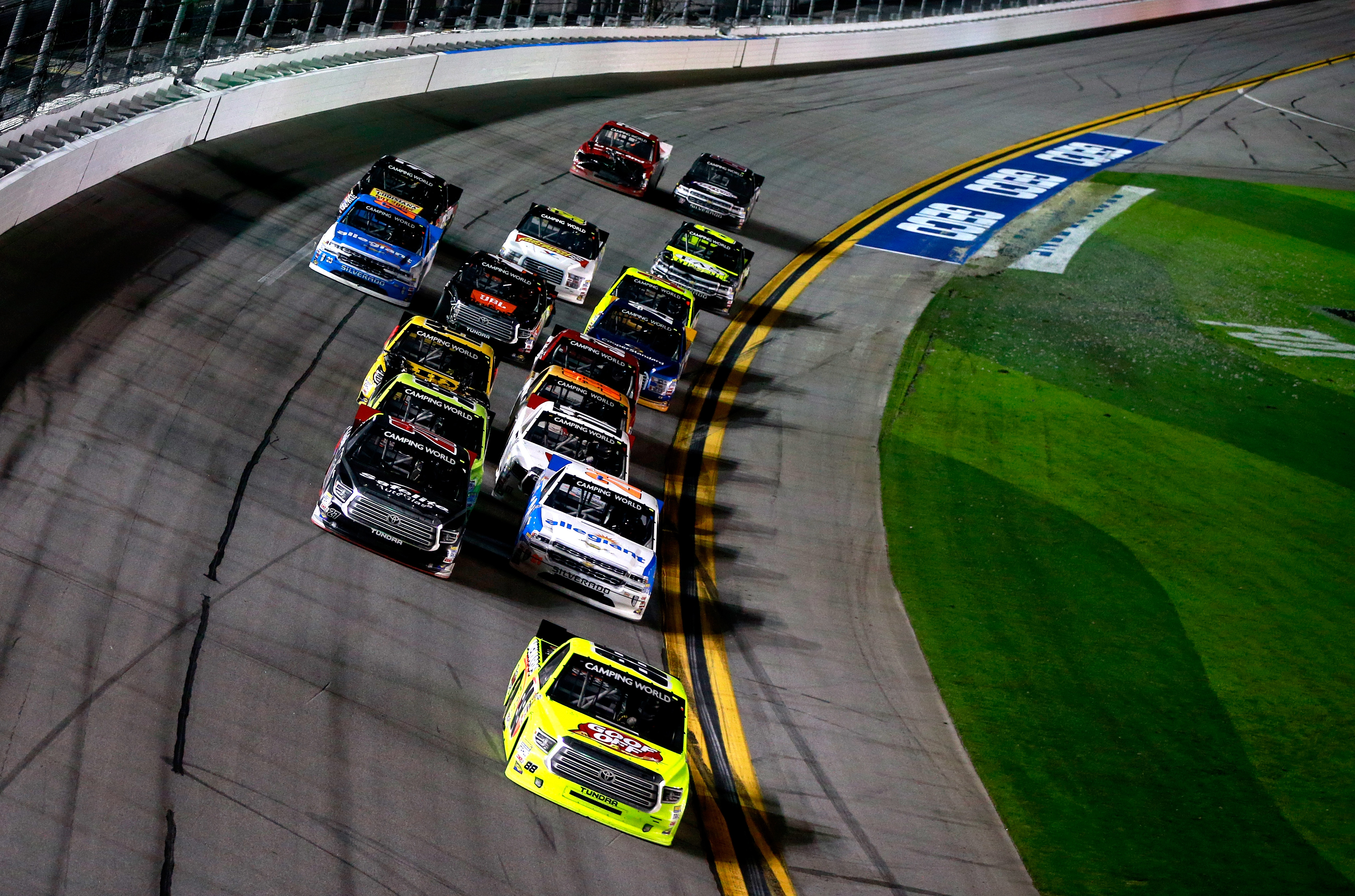 Matt Crafton (No. 88) leads a pack of trucks during the NASCAR Camping World Truck Series NextEra Energy Resources 250 at Daytona International Speedway. (Getty Images)