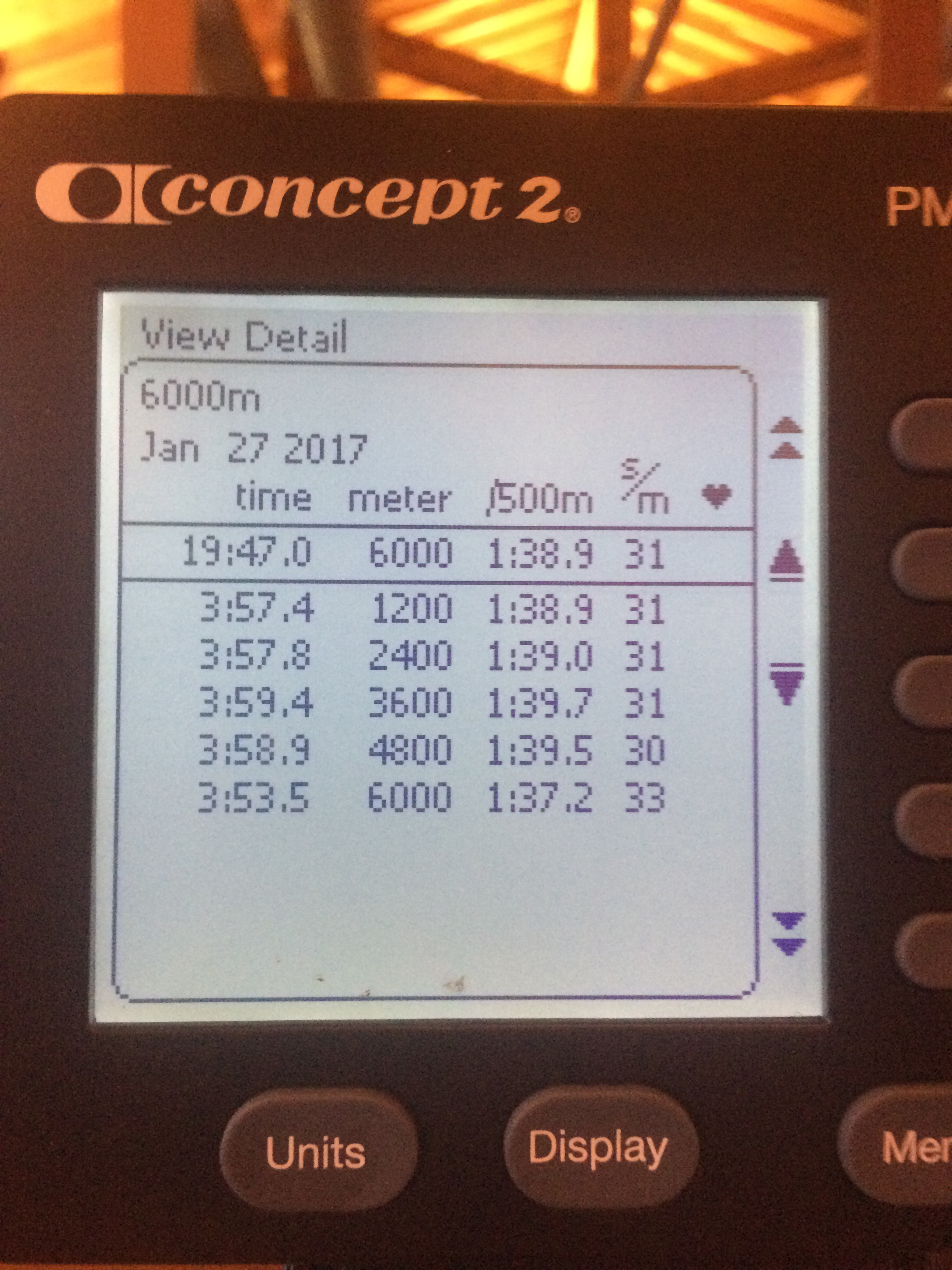 Screen shot of rower Charlie Kwitchoff's world record from Concepts 2.