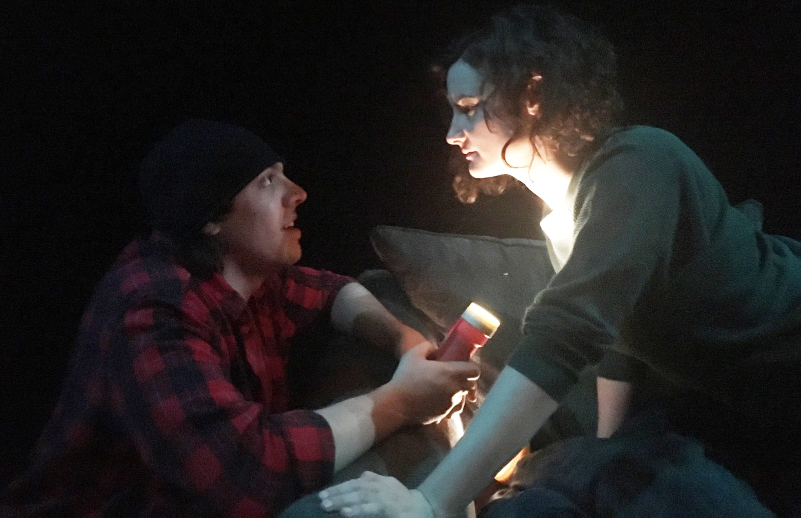 """Kyle Baran and Becky Globus star in Justin Karcher's """"When Blizzard Babies Turn to Stone.' The play, part of 'Buffalo Quickies,' is set almost entirely in the dark."""