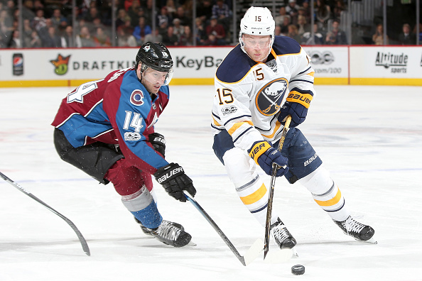 Jack Eichel works around Colorado's Blake Comeau (Getty Images).