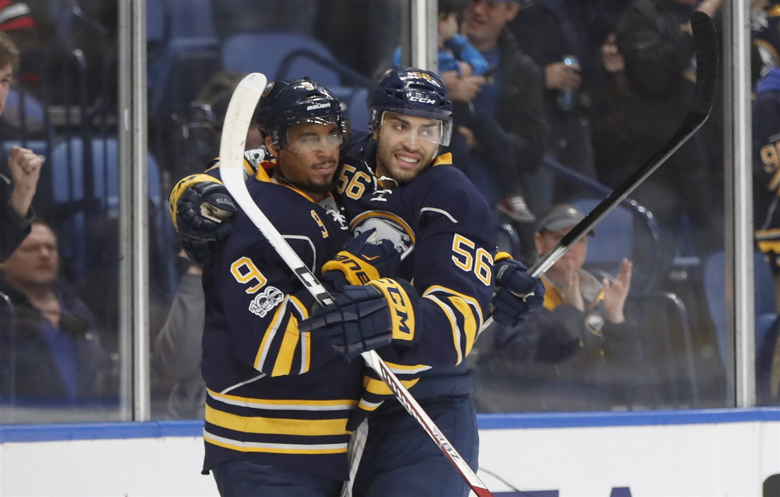 Evander Kane has been regularly getting props from teammates for goals, like he did from Justin Bailey Sunday against Chicago (Harry Scull Jr./Buffalo News).