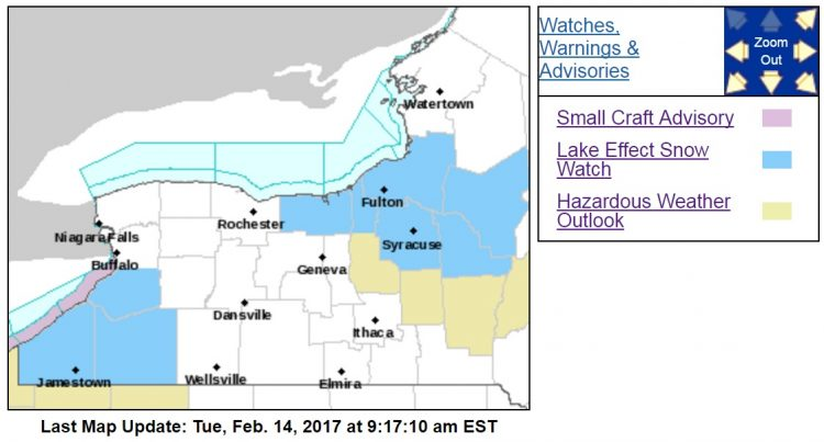 A lake-effect snow watch is posted from 1 p.m. Wednesday to 5 p.m. Thursday in southern Erie, Chautauqua and Cattaraugus counties. (National Weather Service)