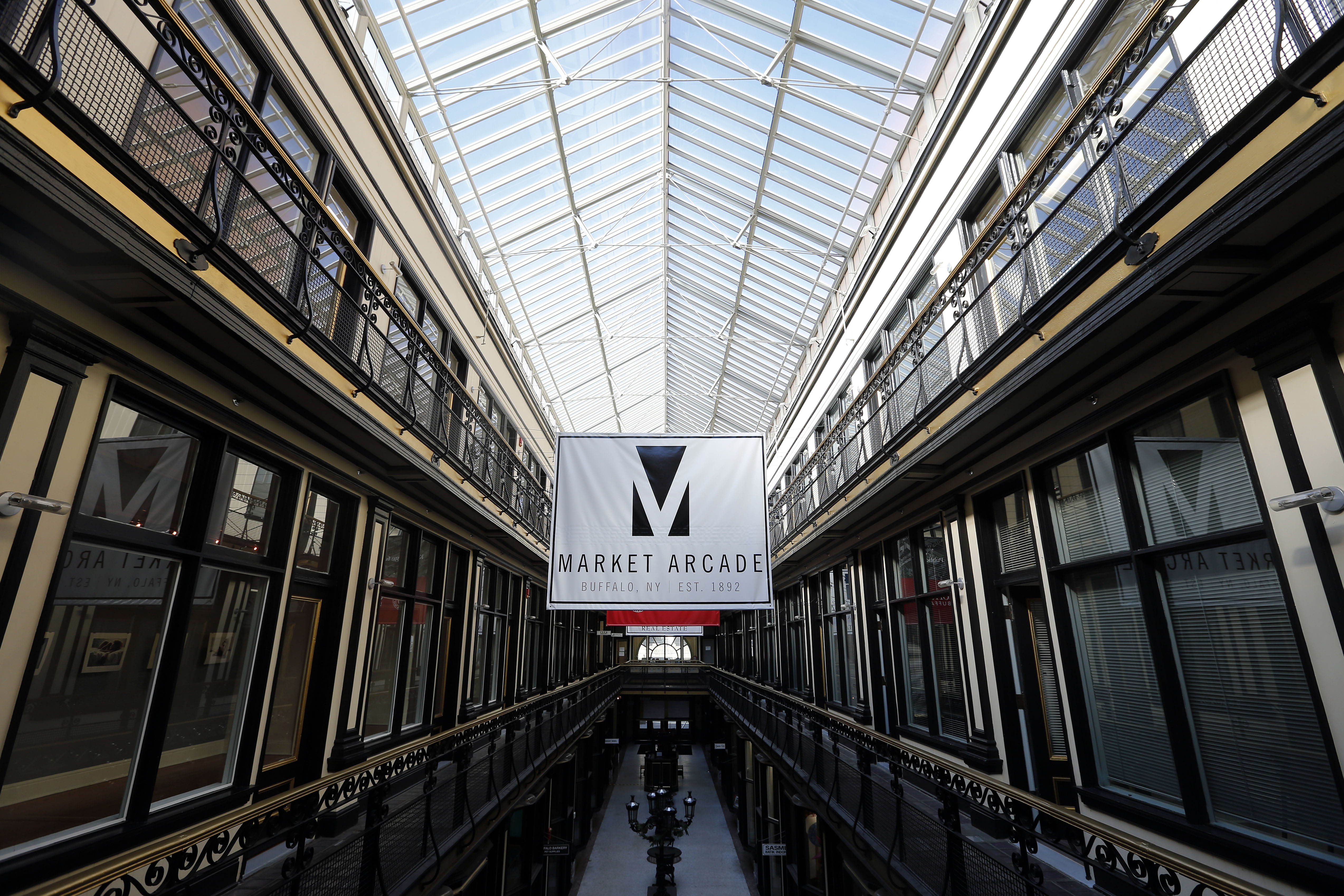 The Market Arcade has three levels of shops and offices topped by a skylight. (Mark Mulville/Buffalo News)