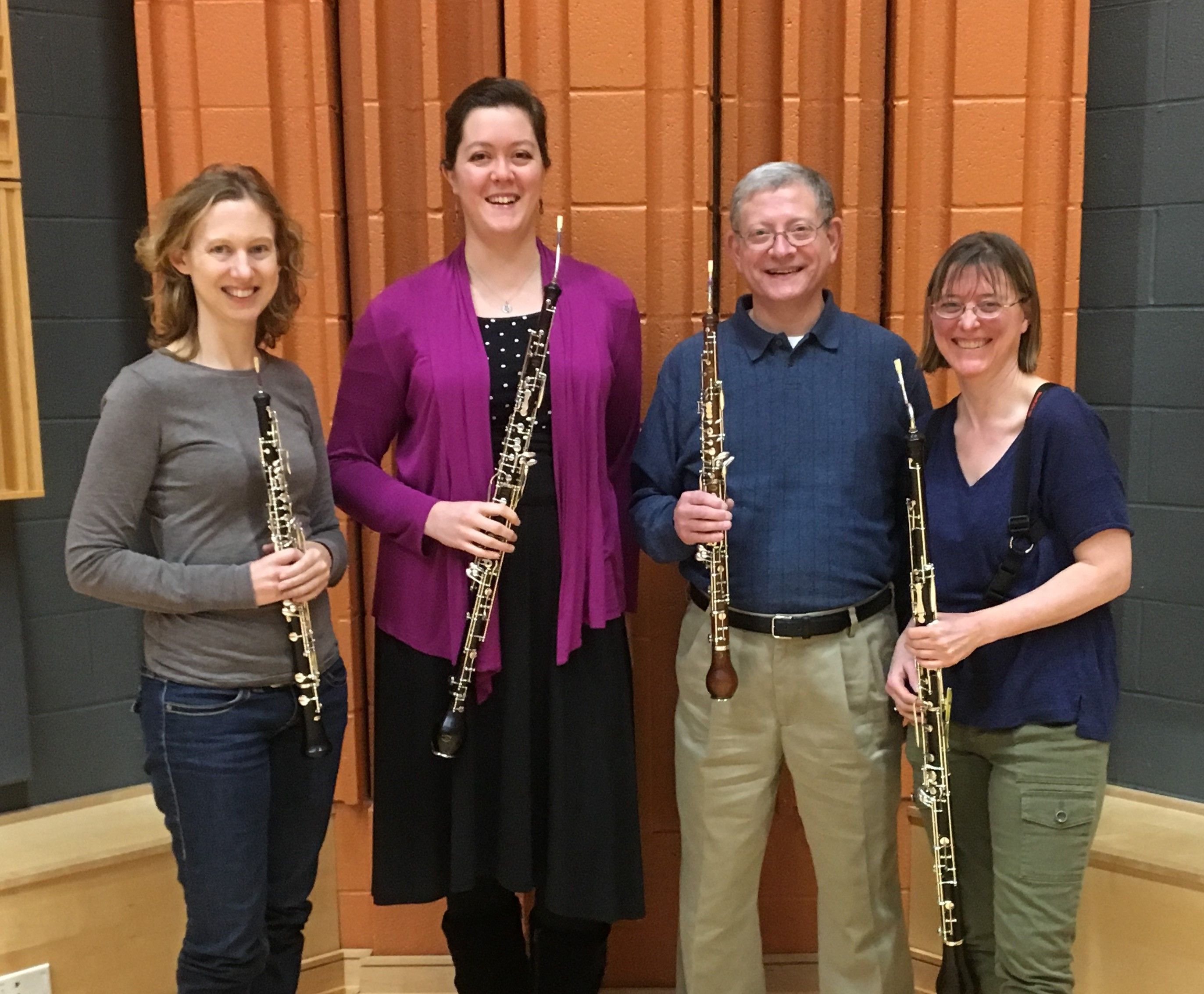 The world premiere of a wind concerto by David Finko will feature. from left to right: Ann Fronckowiak, Sipkje Pesnichak, Paul Schlossman and Sarah Hamilton.