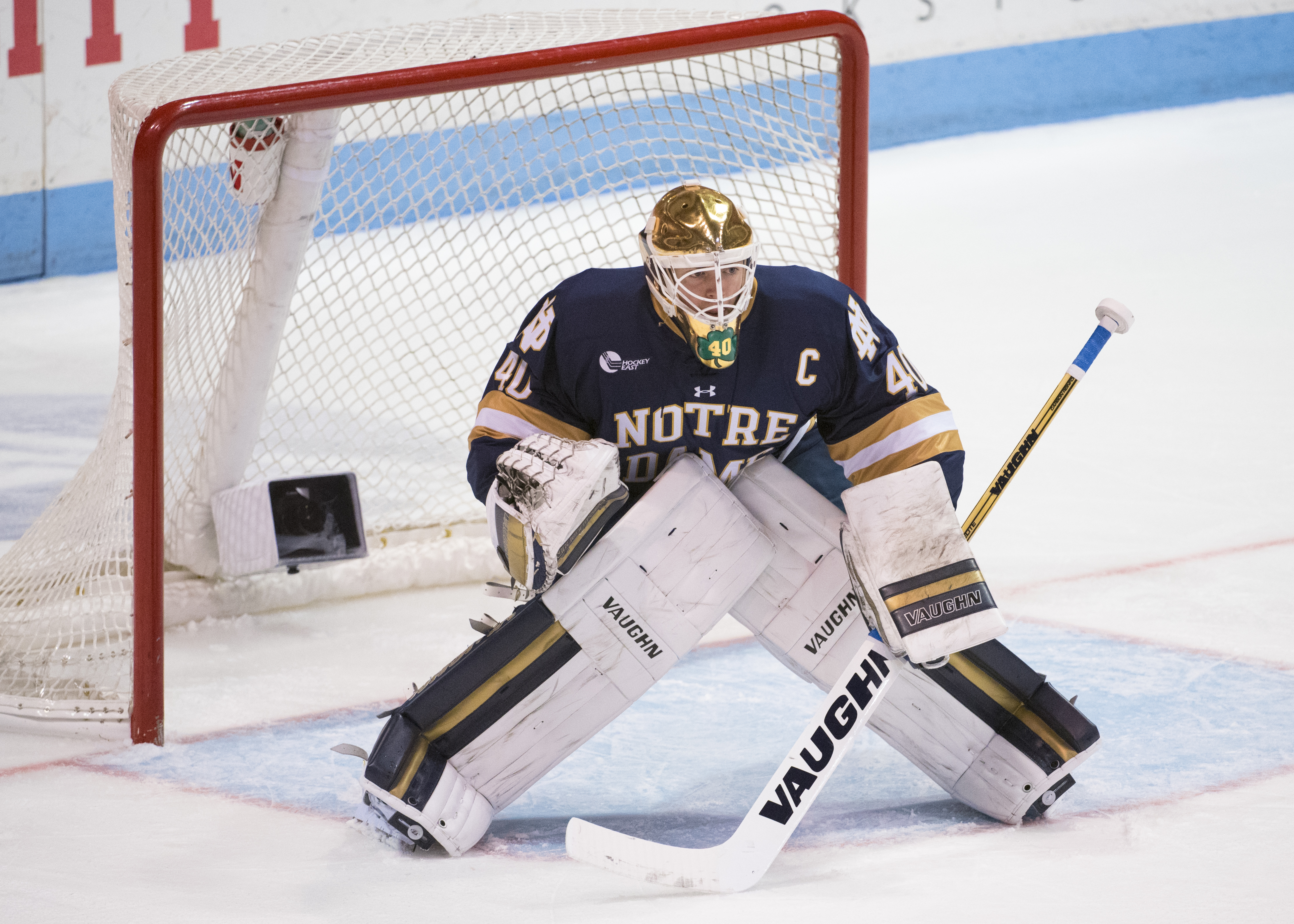 Cal Petersen has a a 2.12 goals against average and a .927 save percentage and a 19-10-5 record for Notre Dame. (Fighting Irish Media)