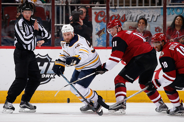 Ryan O'Reilly works the puck during last year's Buffalo win at Gila River Arena (Getty Images).