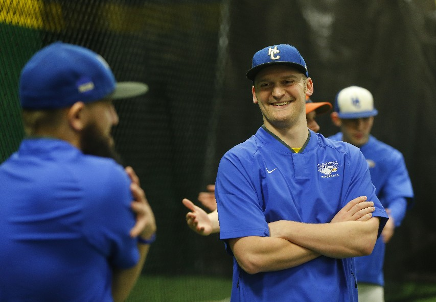 Drew Fittry is entering his first season as the head coach of Hilbert's baseball team. At 25 years old, he's one of the youngest coaches in the NCAA. (Mark Mulville/Buffalo News)