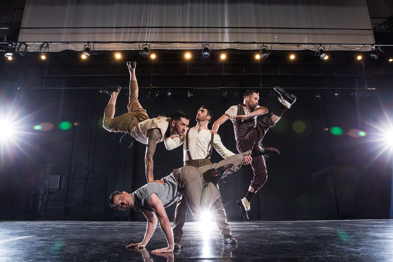 Shaping Sound dancers, clockwise from top left,  Travis Wall, Teddy Forance, Nick Lazzarini and Kyle Robinson (front). (Photo by Matthew Murphy.)