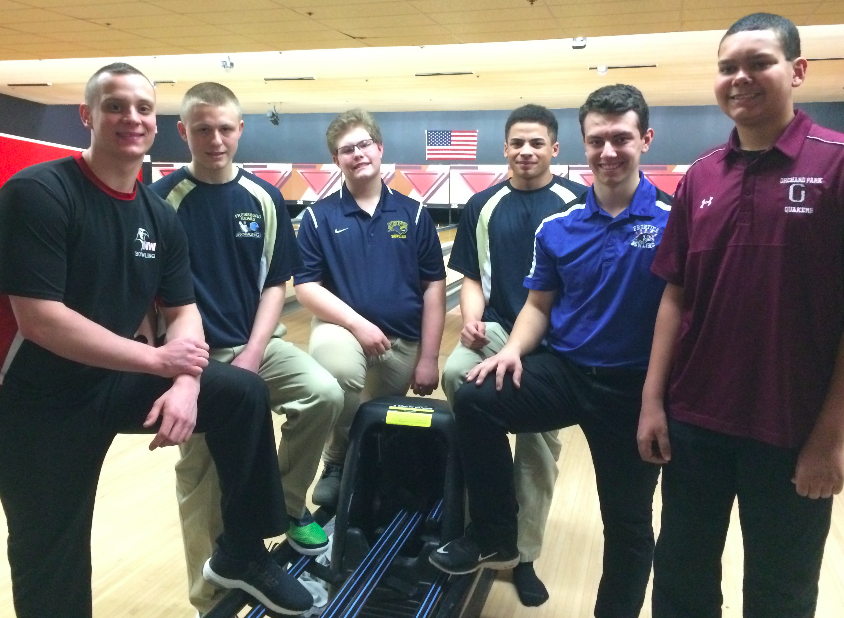 Section VI all-star bowlers, from left to right: Nate Maloney, Josh Snow, Trevor Watts, Malik Williams, Bradon Badaszewski and Tom Klenke (NIck Veronica photo)
